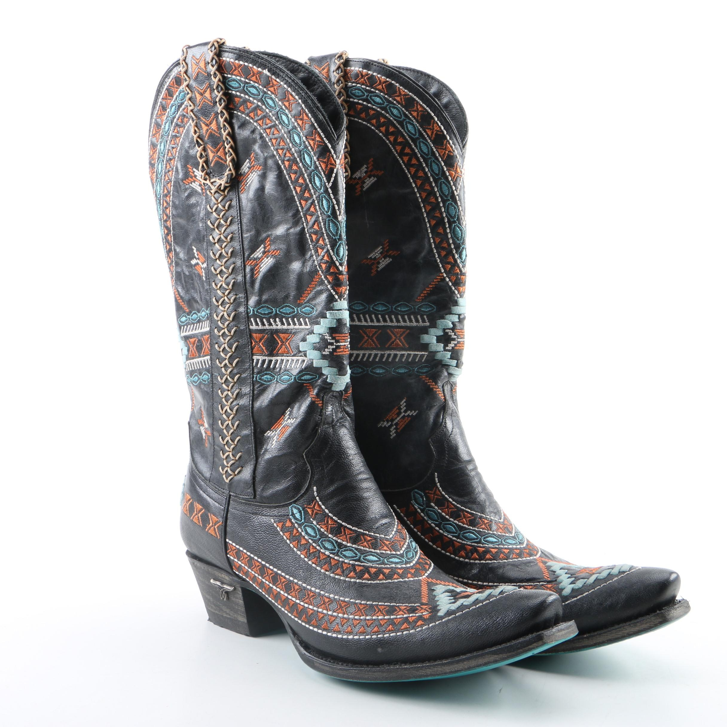 Women's Lane Embroidered Black Leather Western Boots