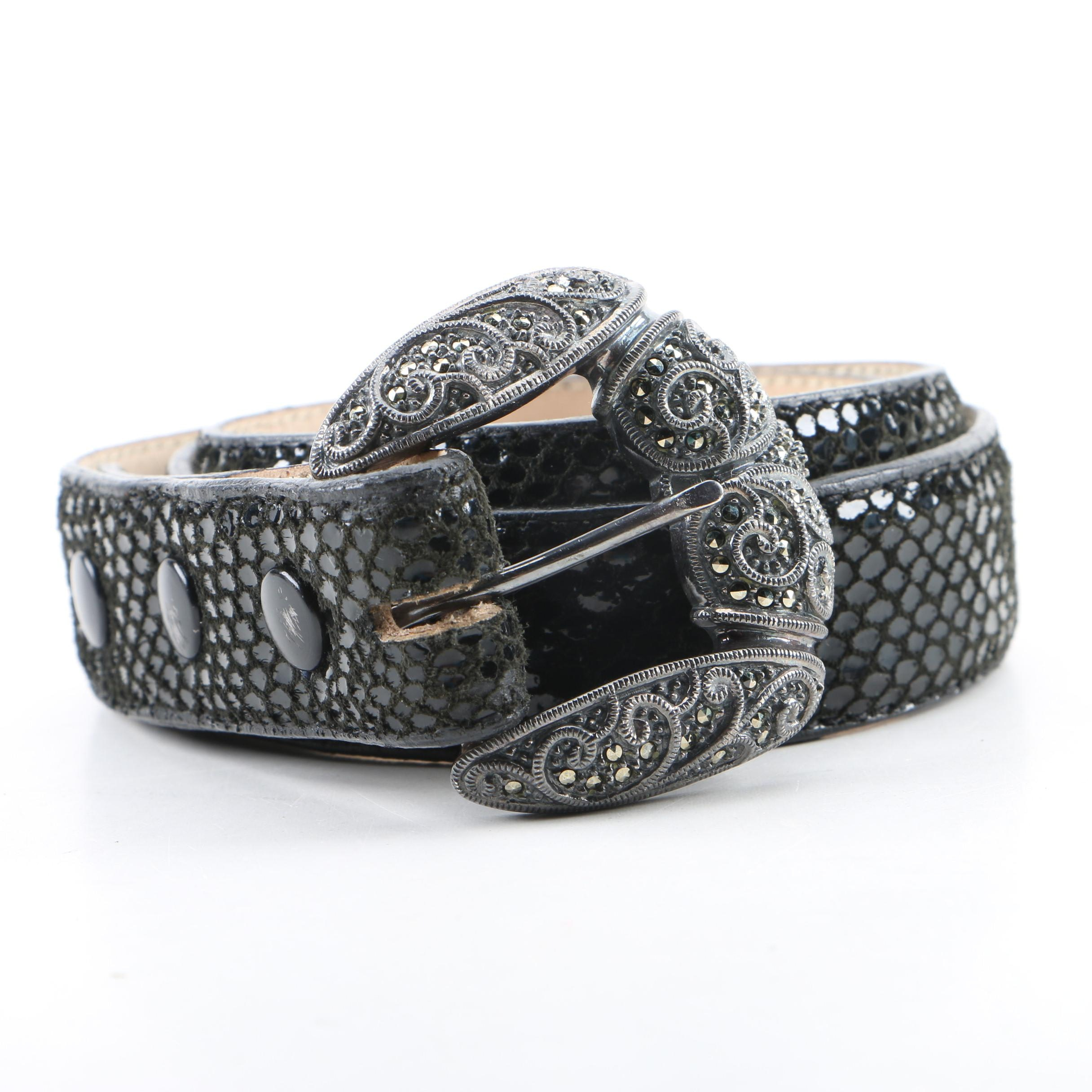 Judith Jack Embossed Black Leather Belt with Sterling and Marcasite Buckle