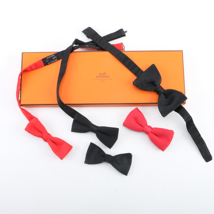 d745dc51c62c Men's Red and Black Bow Ties with an Hermès Box : EBTH