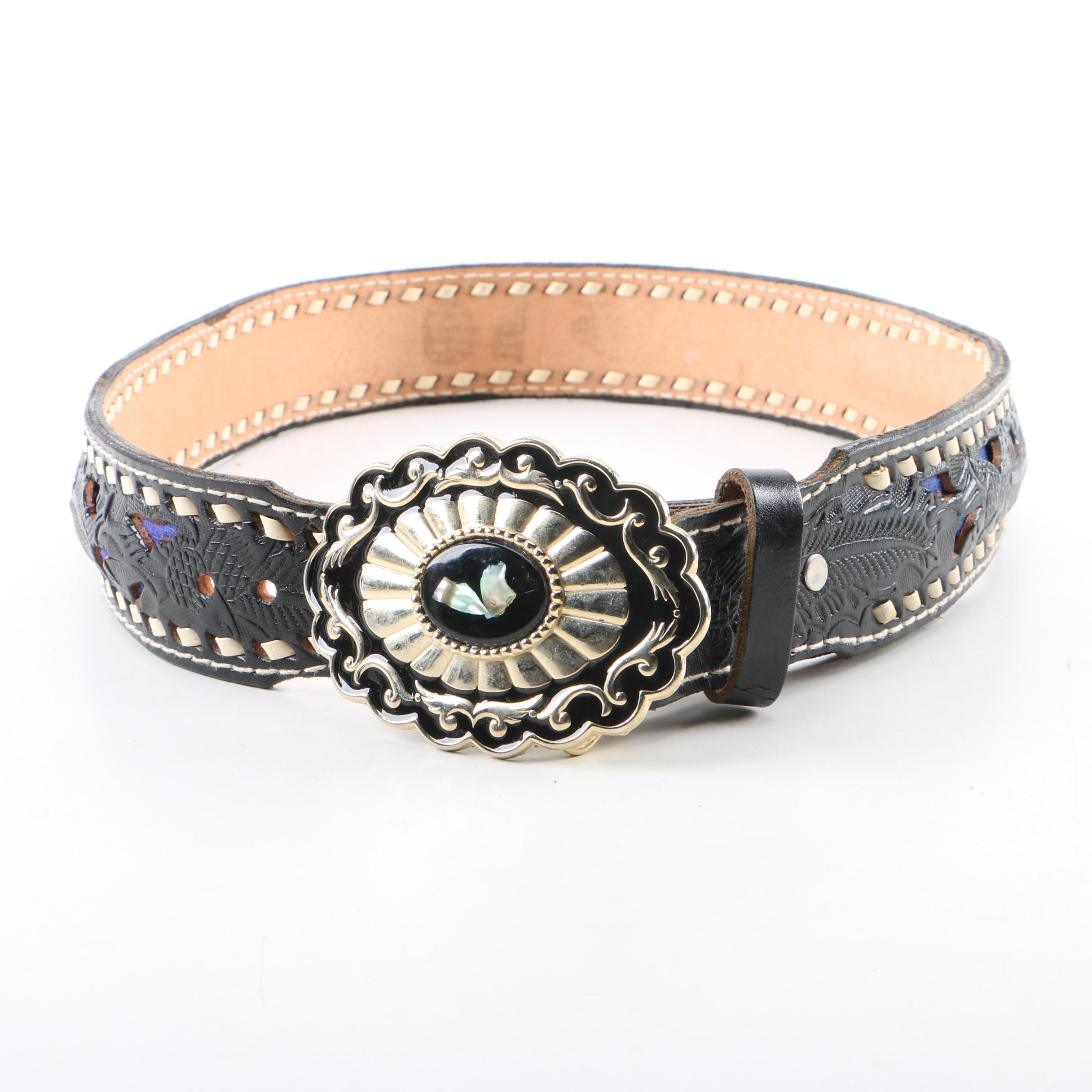 Women's Black Tooled Leather Belt with Abalone Accented Buckle
