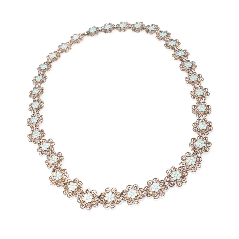 Vintage Sterling Silver and Enamel Flower Necklace