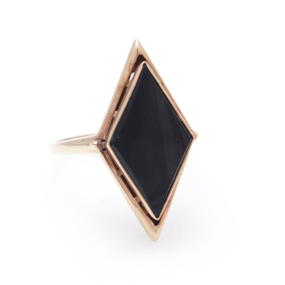 10K Yellow Gold Onyx Ring
