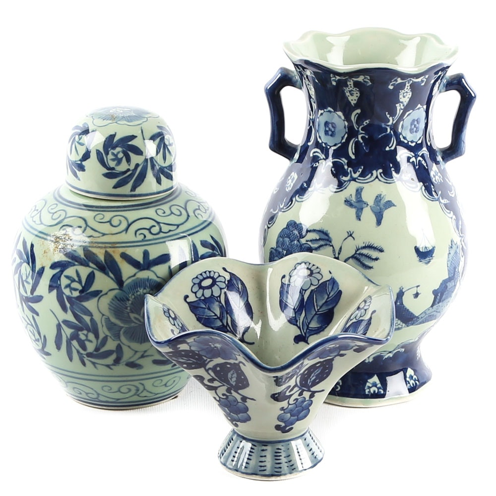 Chinese Ceramic Blue and Celadon Ginger Jar and Vases