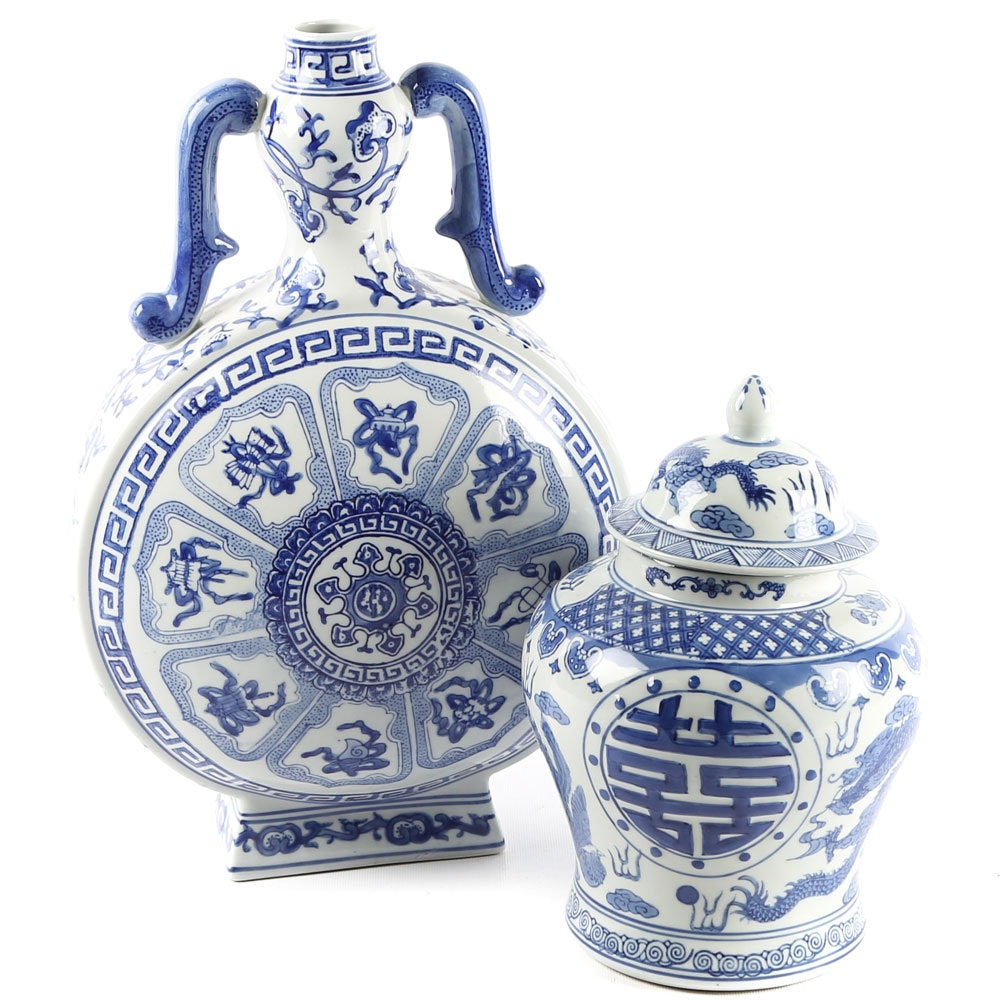 Chinese Blue and White Ceramic Vase and Ginger Jar