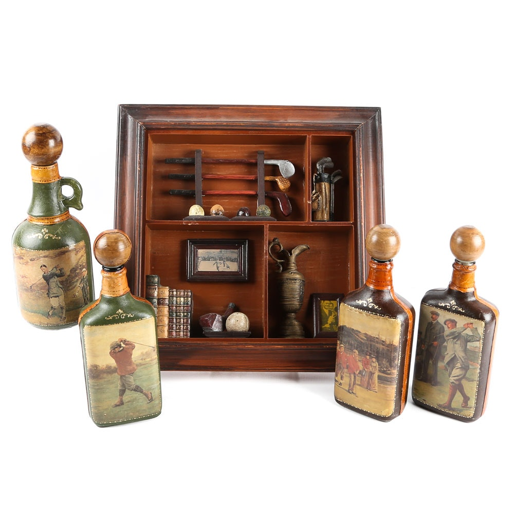 Fausto Corduri Leather Covered Decanters and Golf Shadowbox