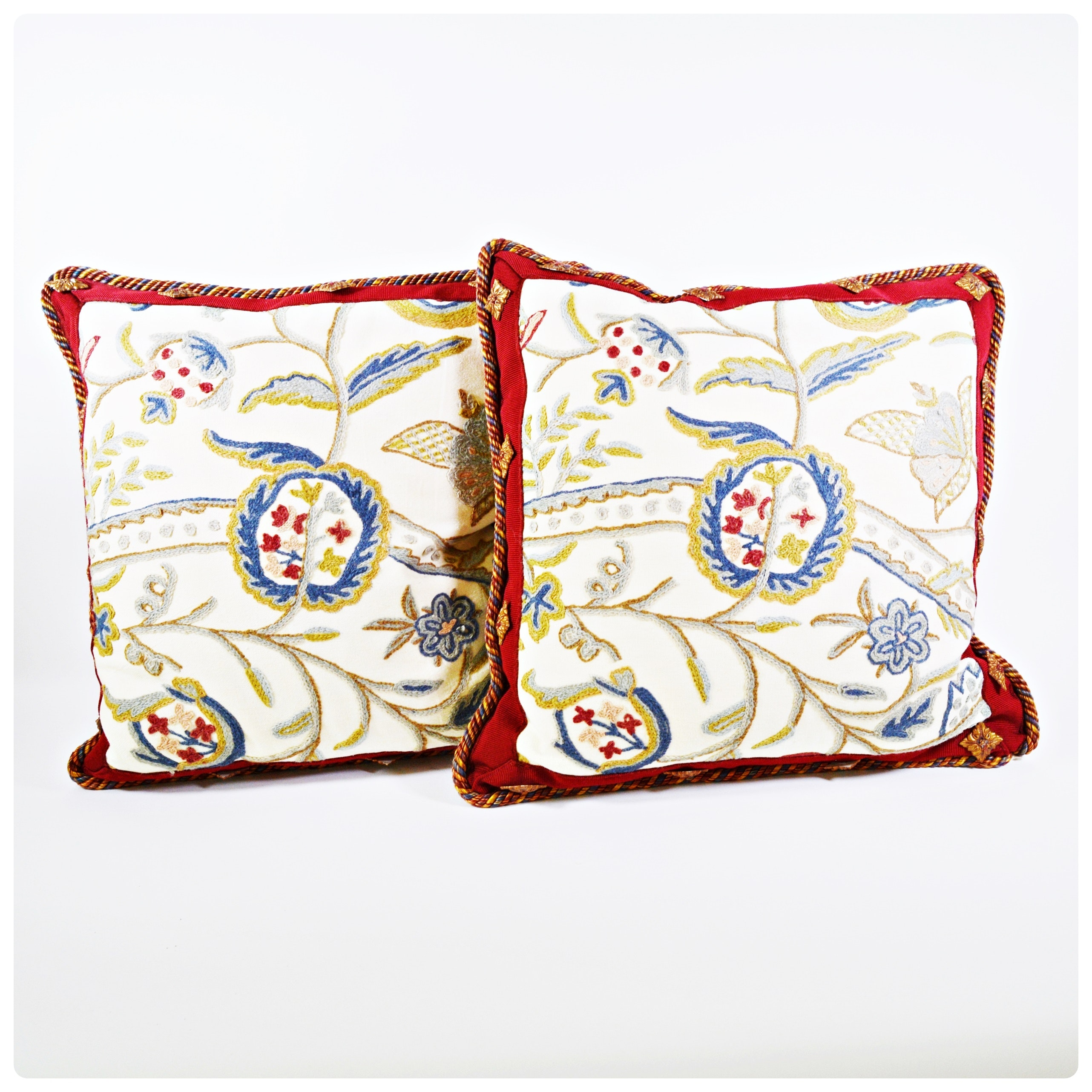 Crewel Embroidered Pillows