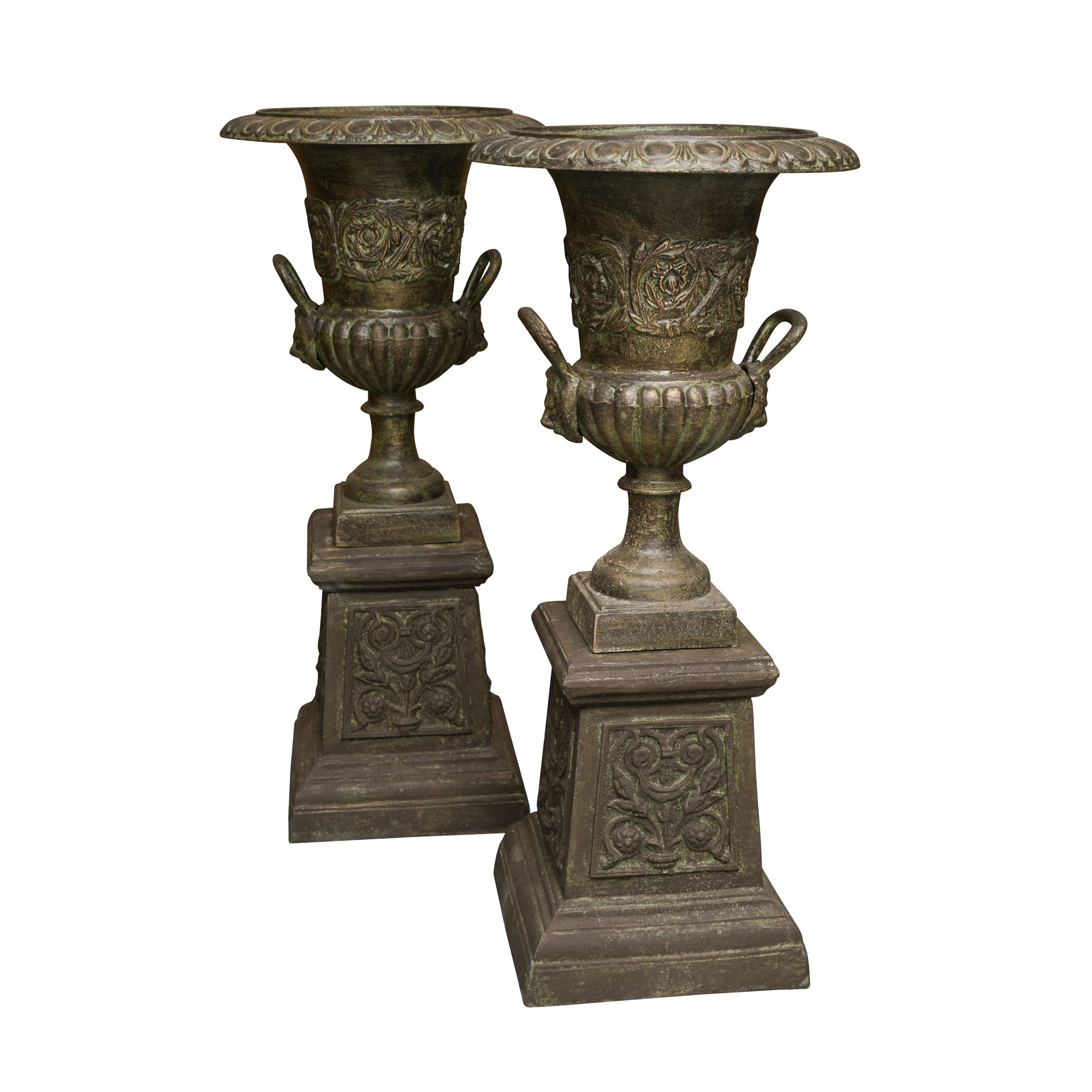 Pair of Large Urn Shaped Planters on Plinths