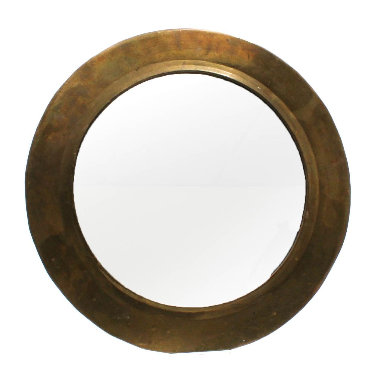 Vintage Handwrought Brass Wall Mirror