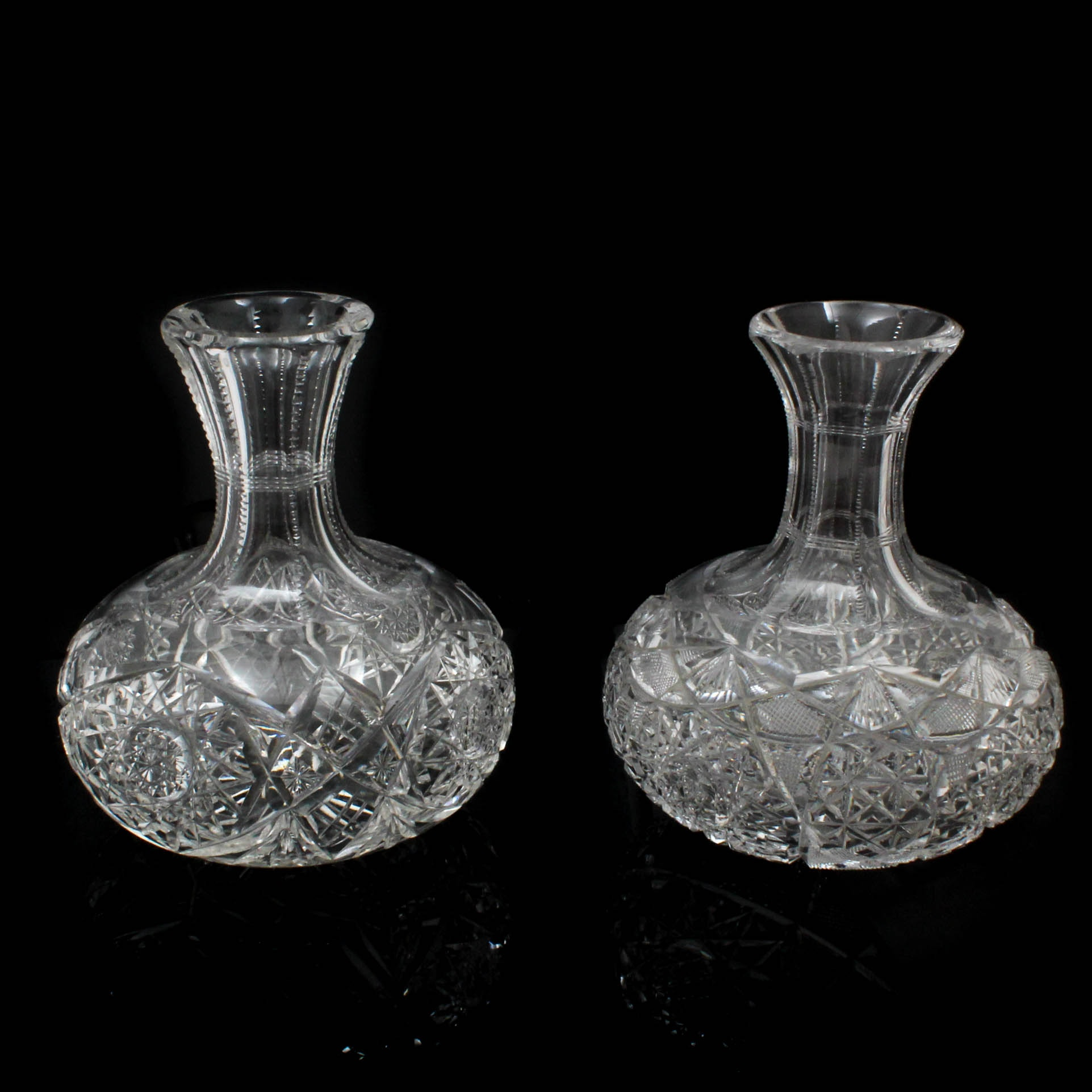 Two American Brilliant Period Cut Glass Carafes