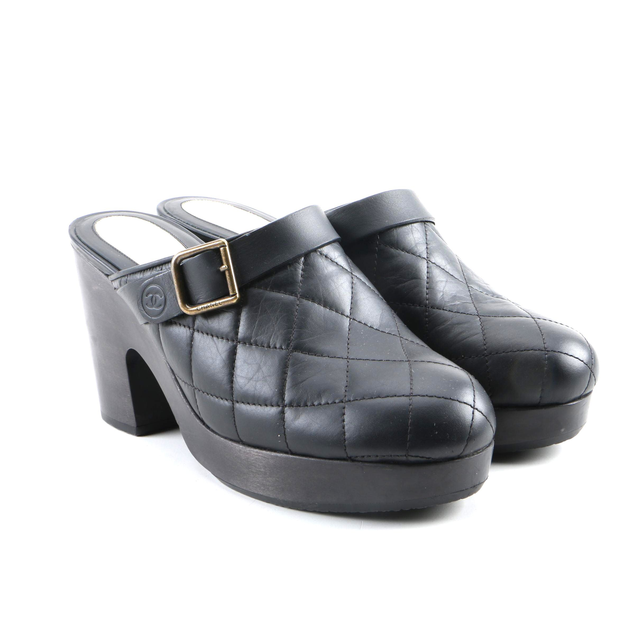Women's Chanel Black Quilted Leather Platform Clogs