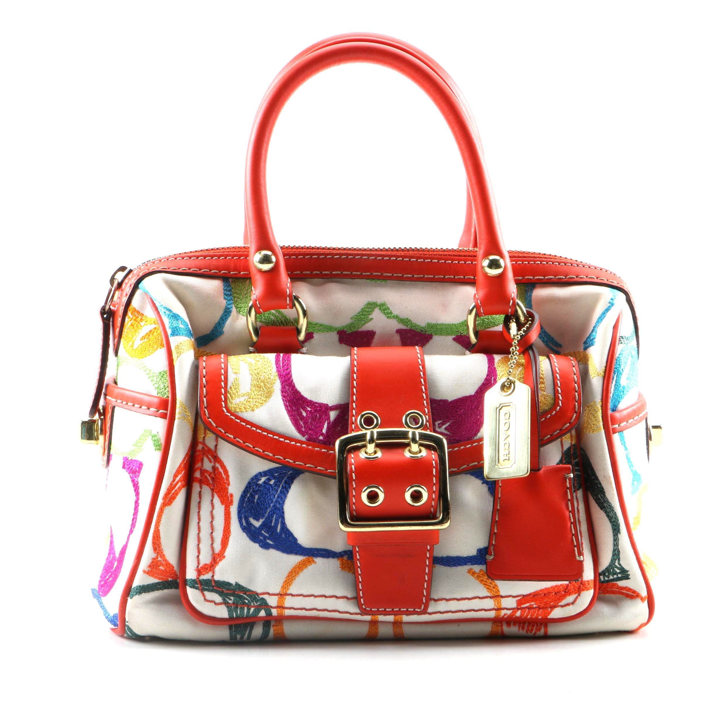 Coach Scribble Signature Canvas and Leather Satchel