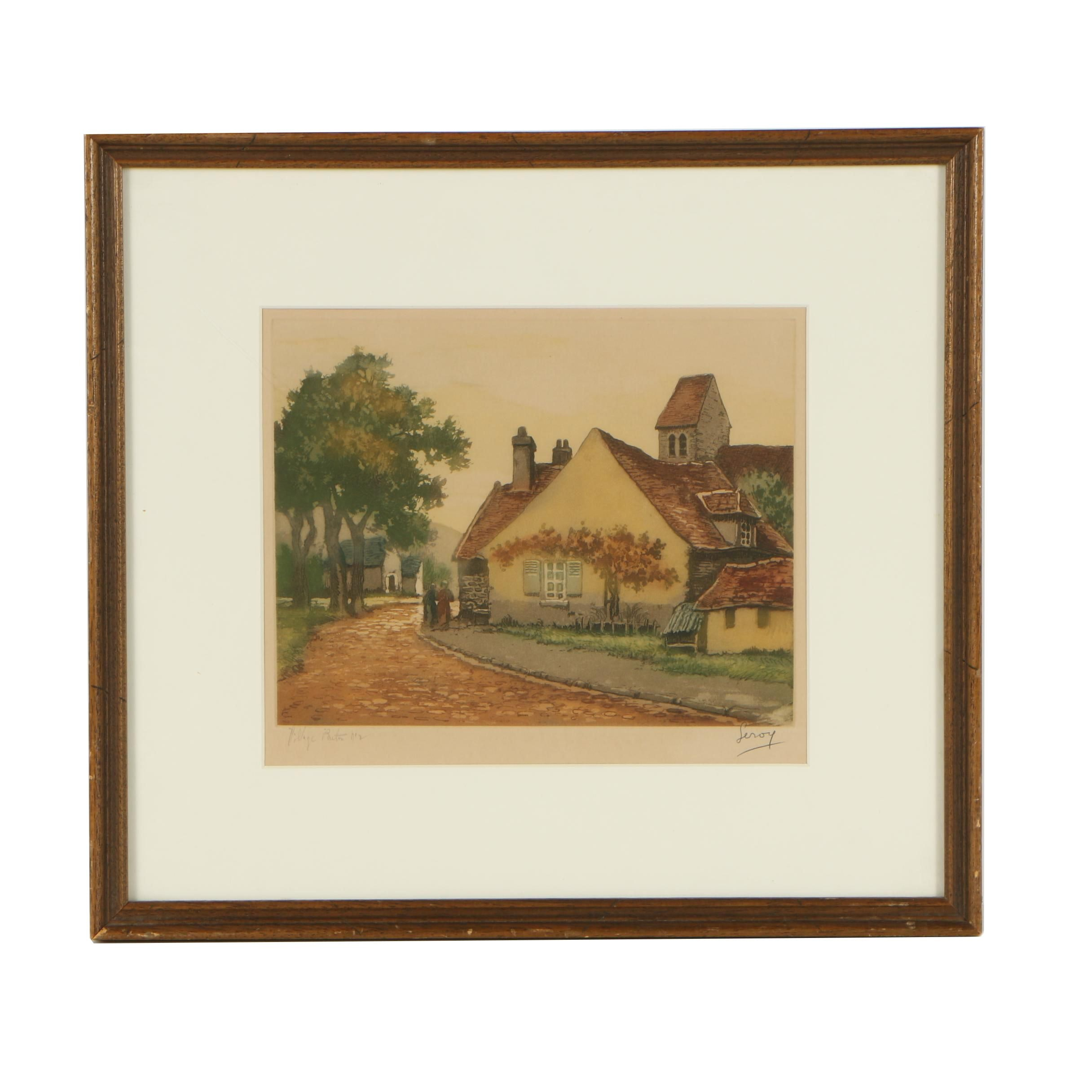 Leroy Color Etching of Village Scene