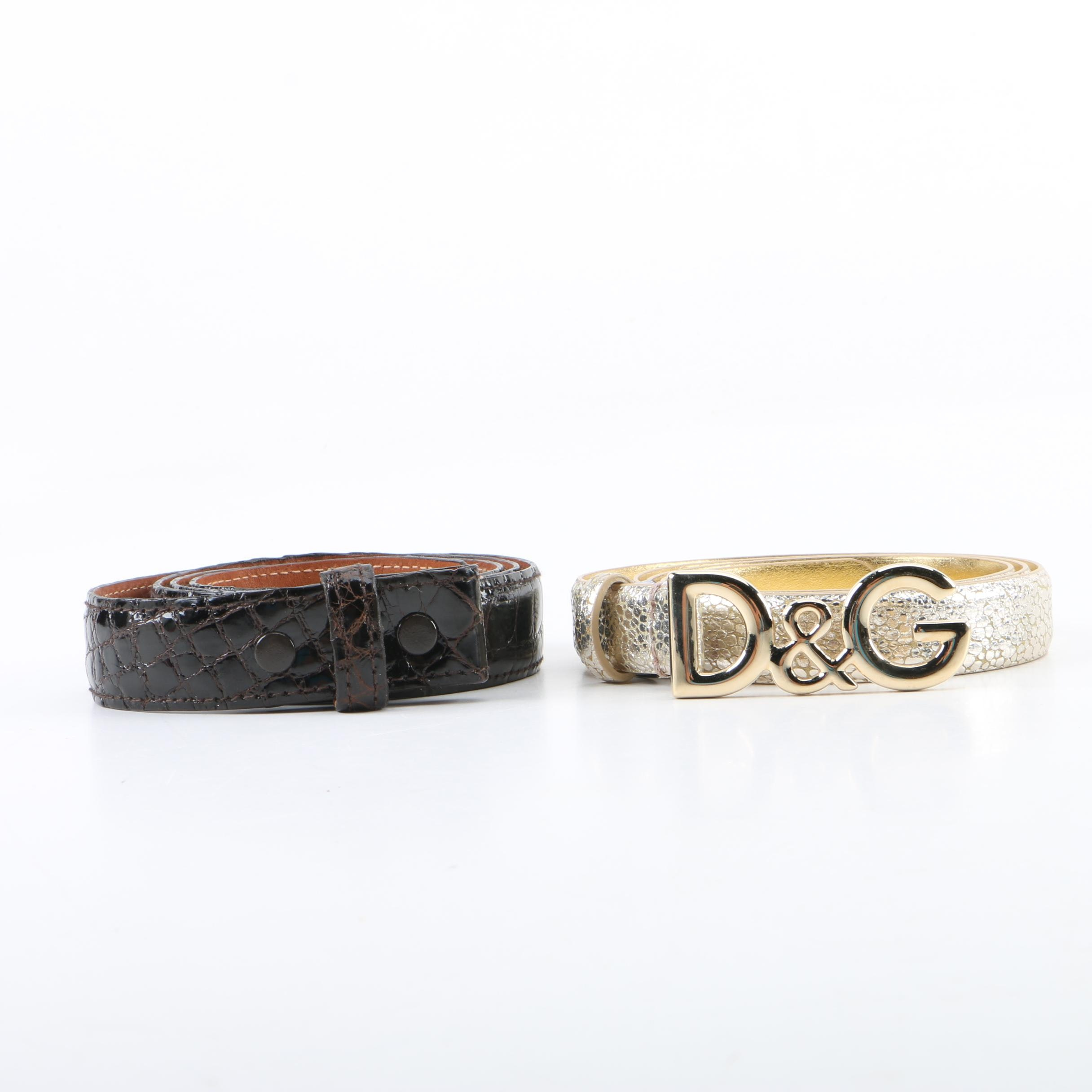 Dolce & Gabbana Metallic and Brooks Brothers Alligator Belts