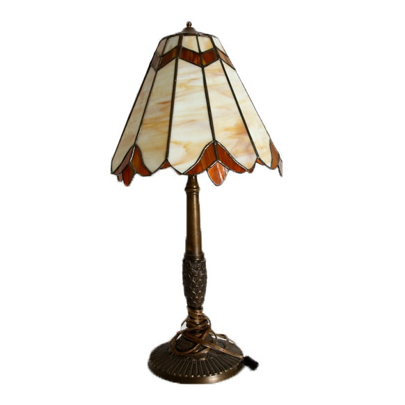 Mid to Late 20th Century Slag and Stained Glass Lamp