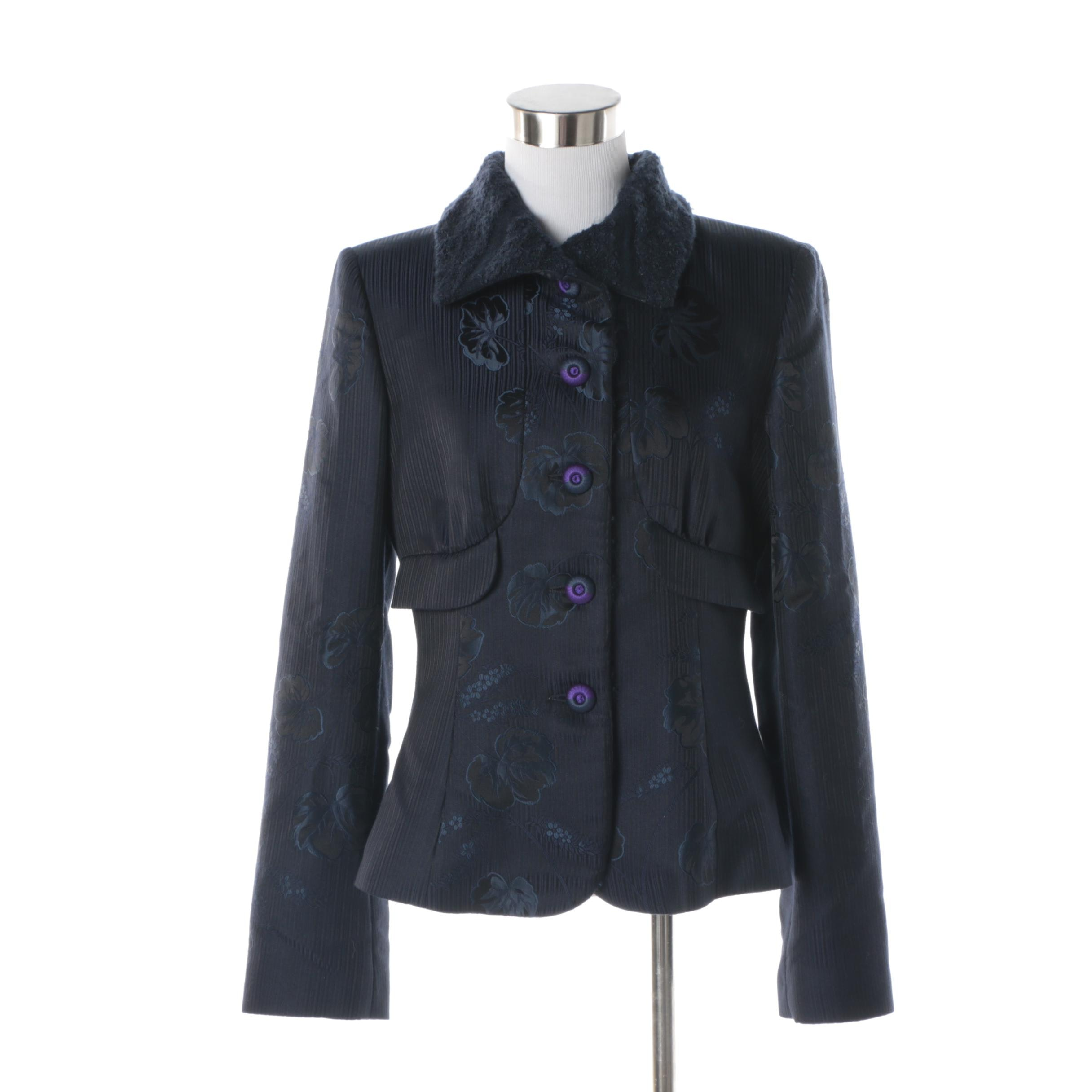 Women's Giorgio Armani Navy Silk Blend Jacket