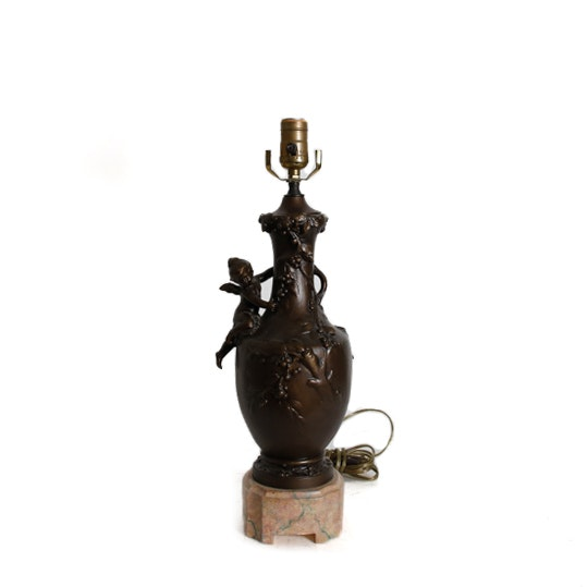 Urn Style Ceramic Table Lamp with Figural Cherub
