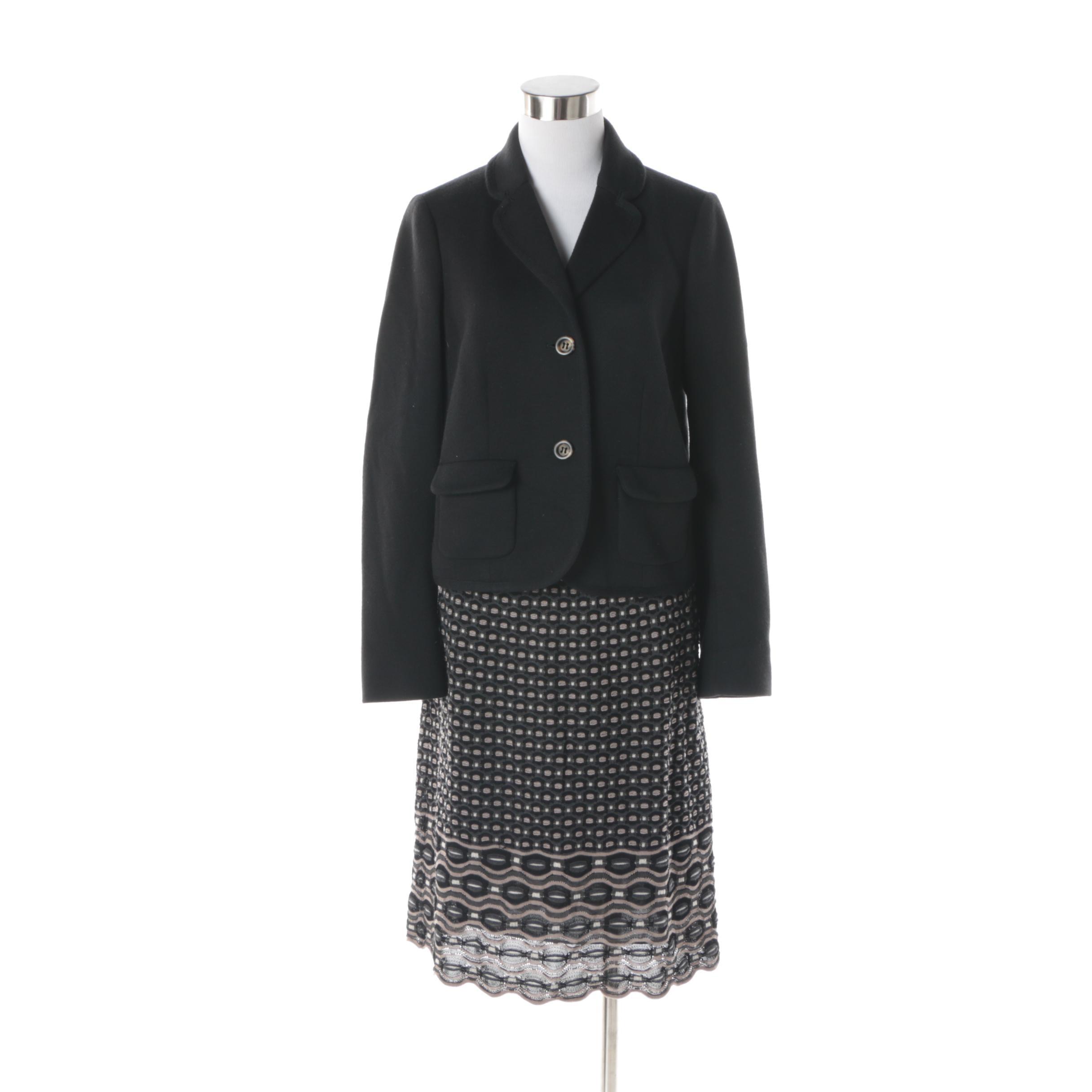 Women's Missoni Black Wool Blend Jacket and Knit Skirt