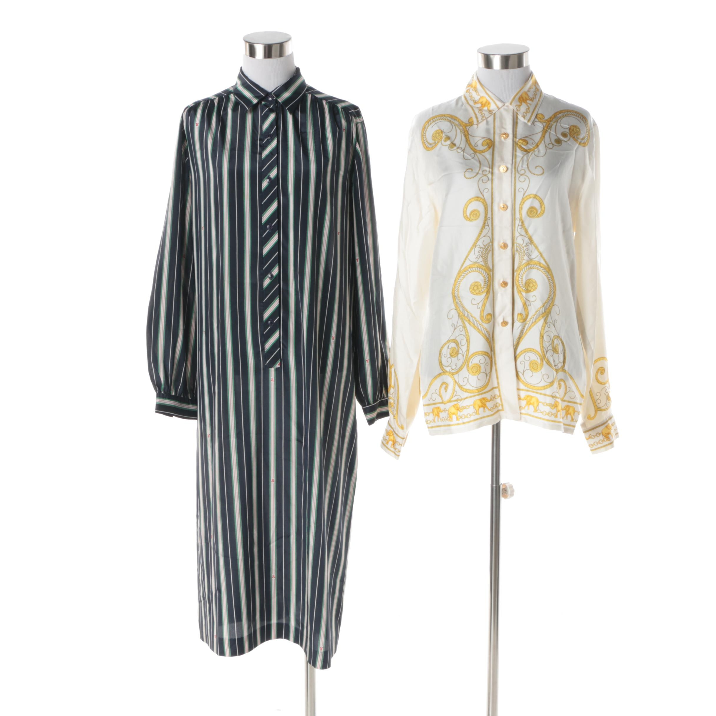 Women's Escada Margaretha Ley Silk Blouse and Lanvin Silk Striped Shirt Dress