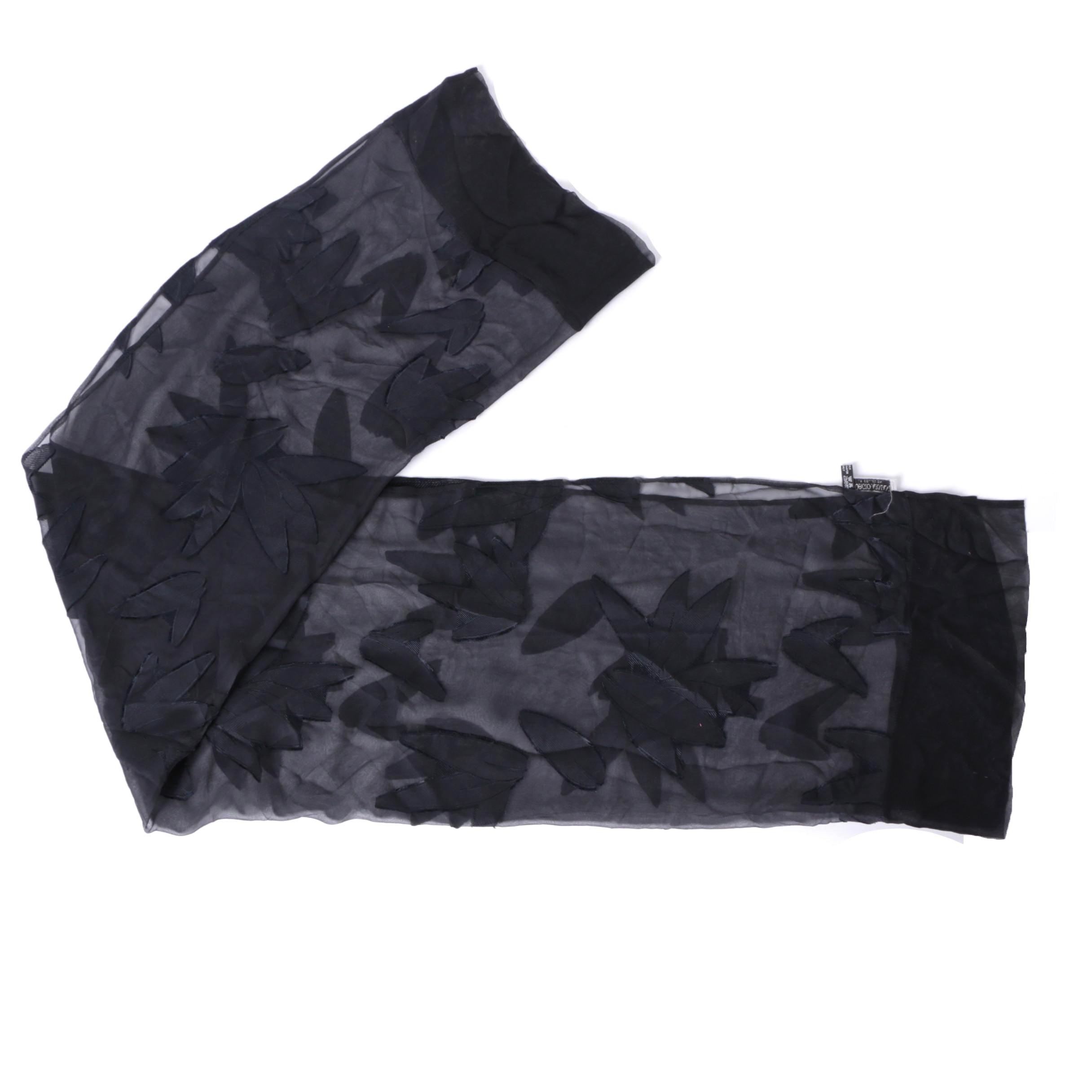 Giorgio Armani Le Collezioni Black and Grey Abstract Pattern Silk Scarf