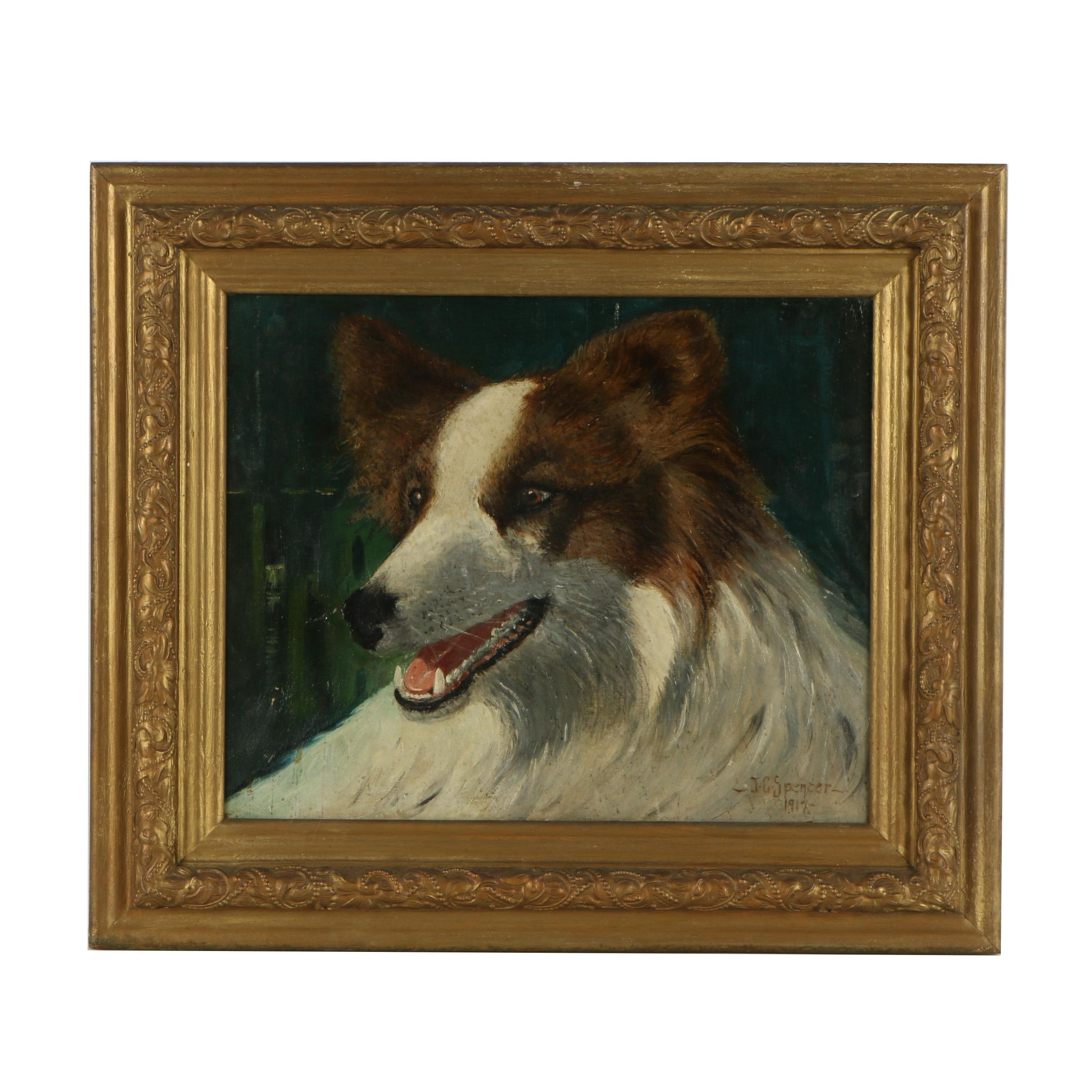 J. C. Spencer Oil Painting of Dog