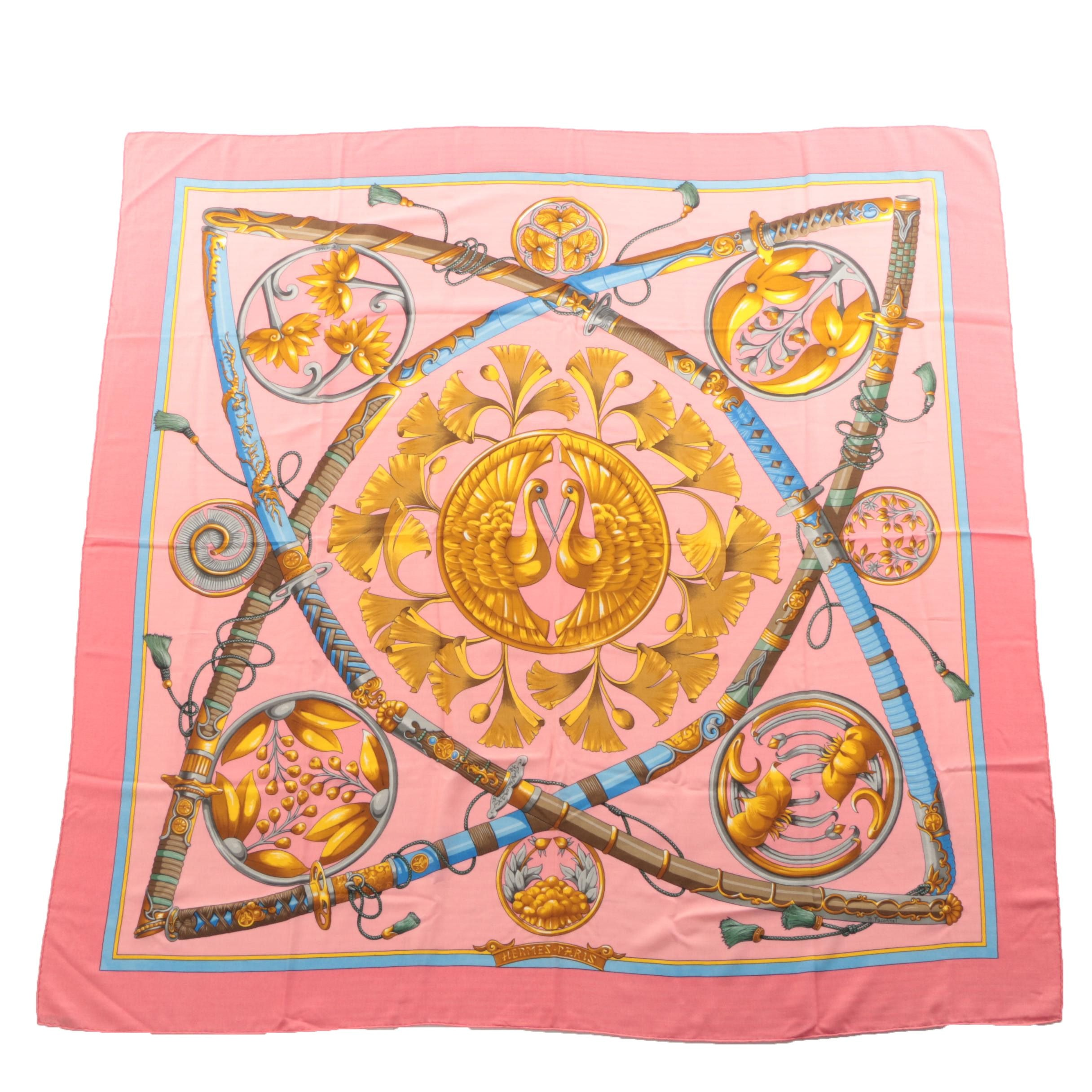 "Hermès of Paris ""Daimyo Princes du Soleil Levant"" Cashmere and Silk Blend Scarf"