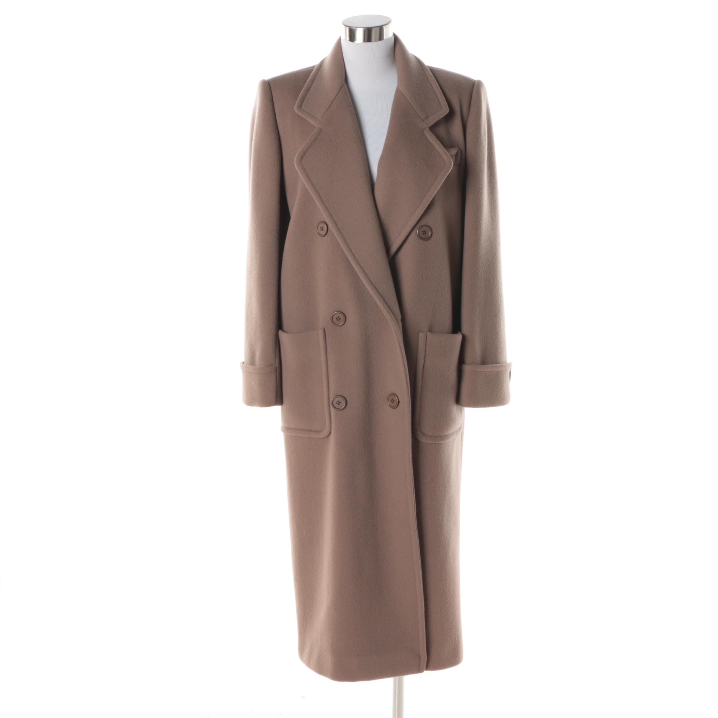 Women's Vintage Reflections Double-Breasted Taupe Wool Overcoat