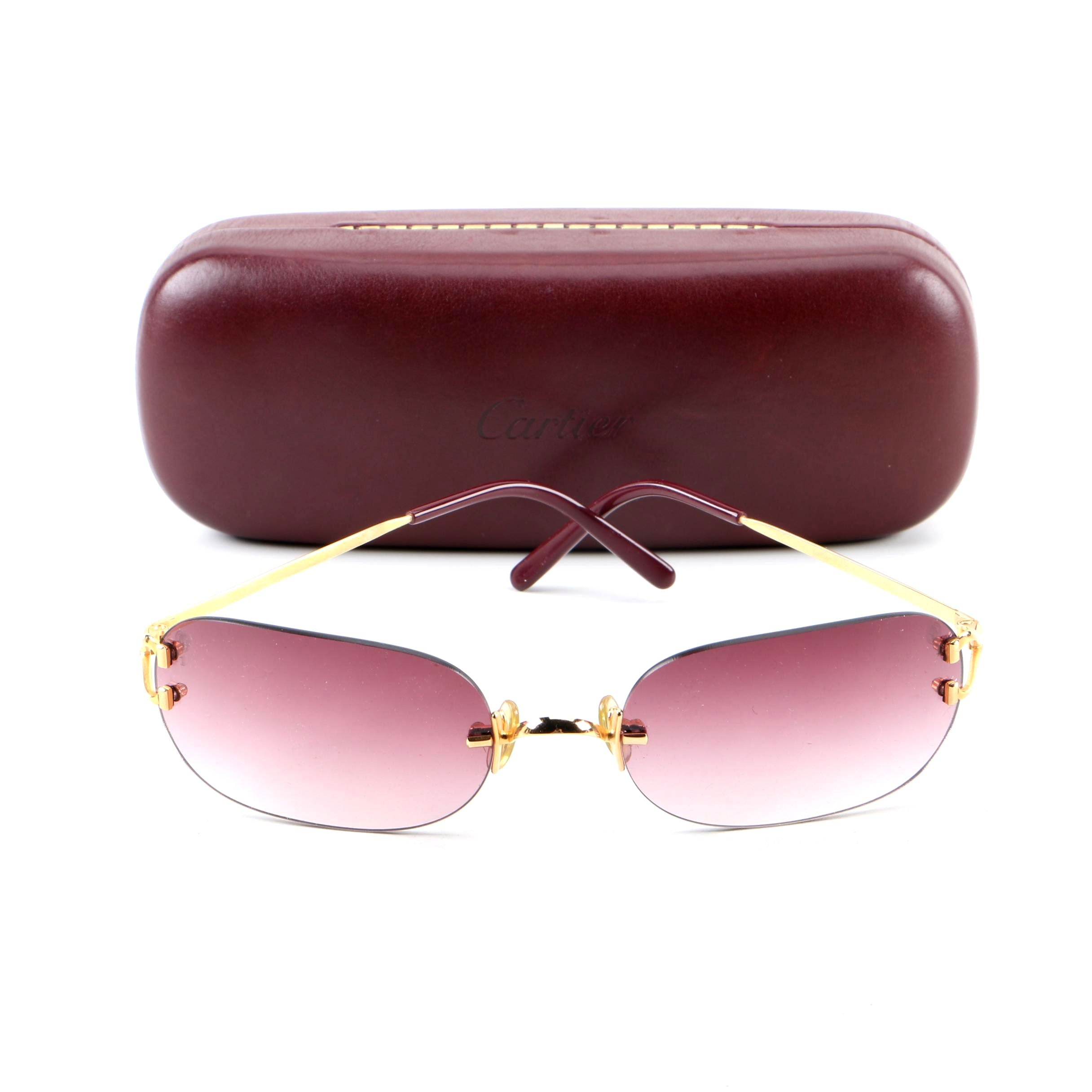 Cartier Limited Edition 20th Anniversary Rimless Sunglasses with Case