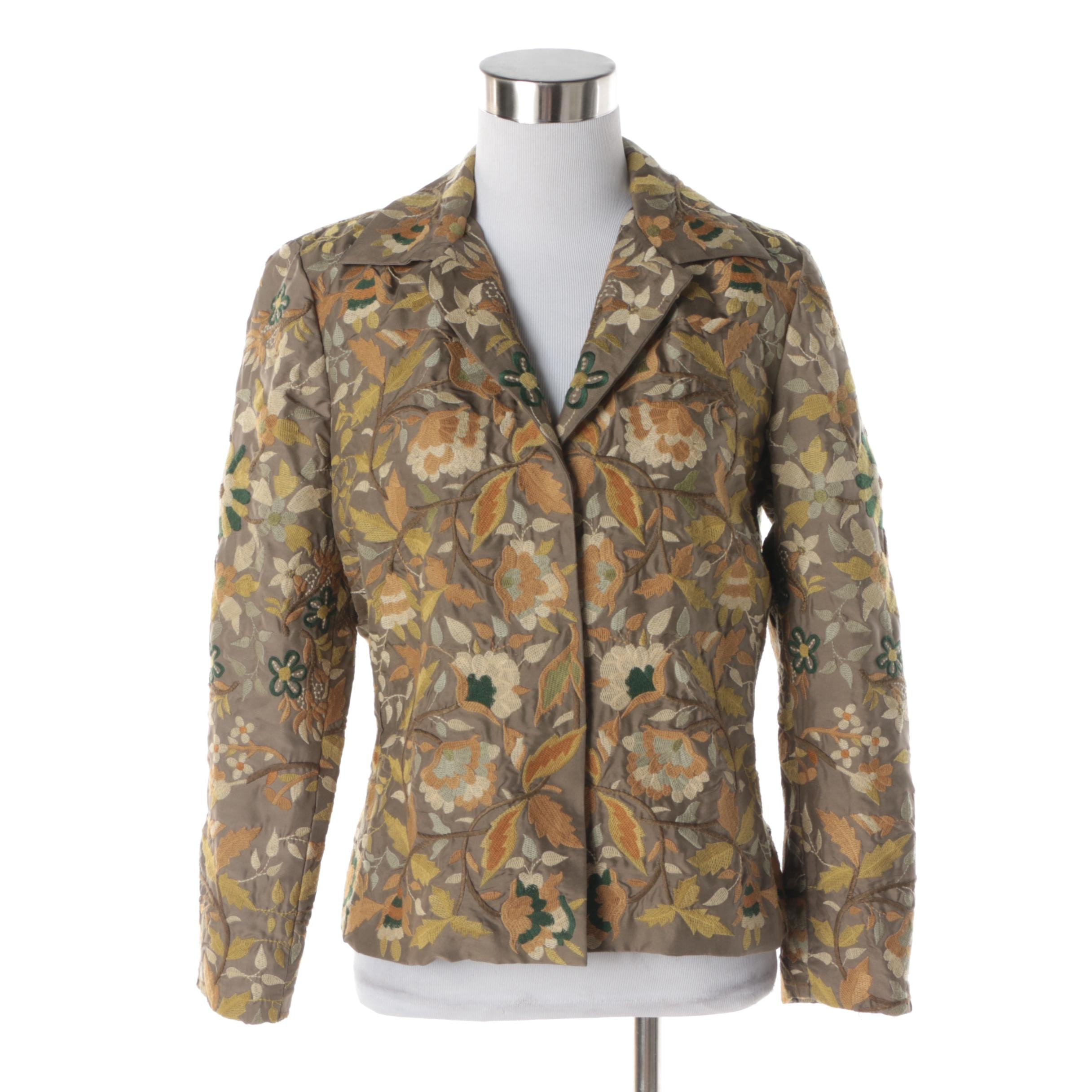 Women's Biya Embroidered Floral Motif Silk Jacket