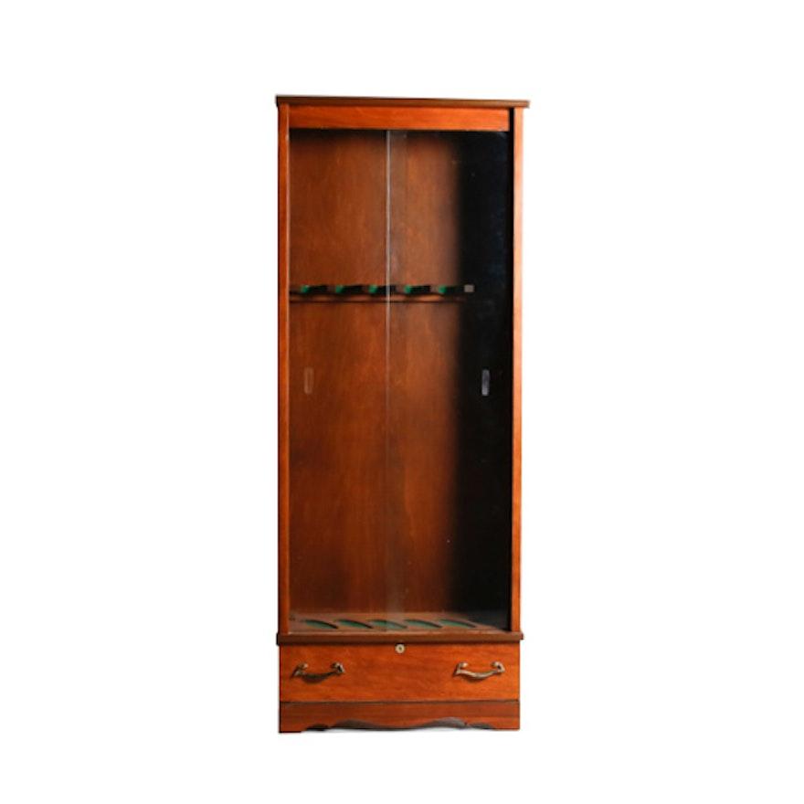 Vintage Glass Cabinet Door Gun Case With Drawer Ebth