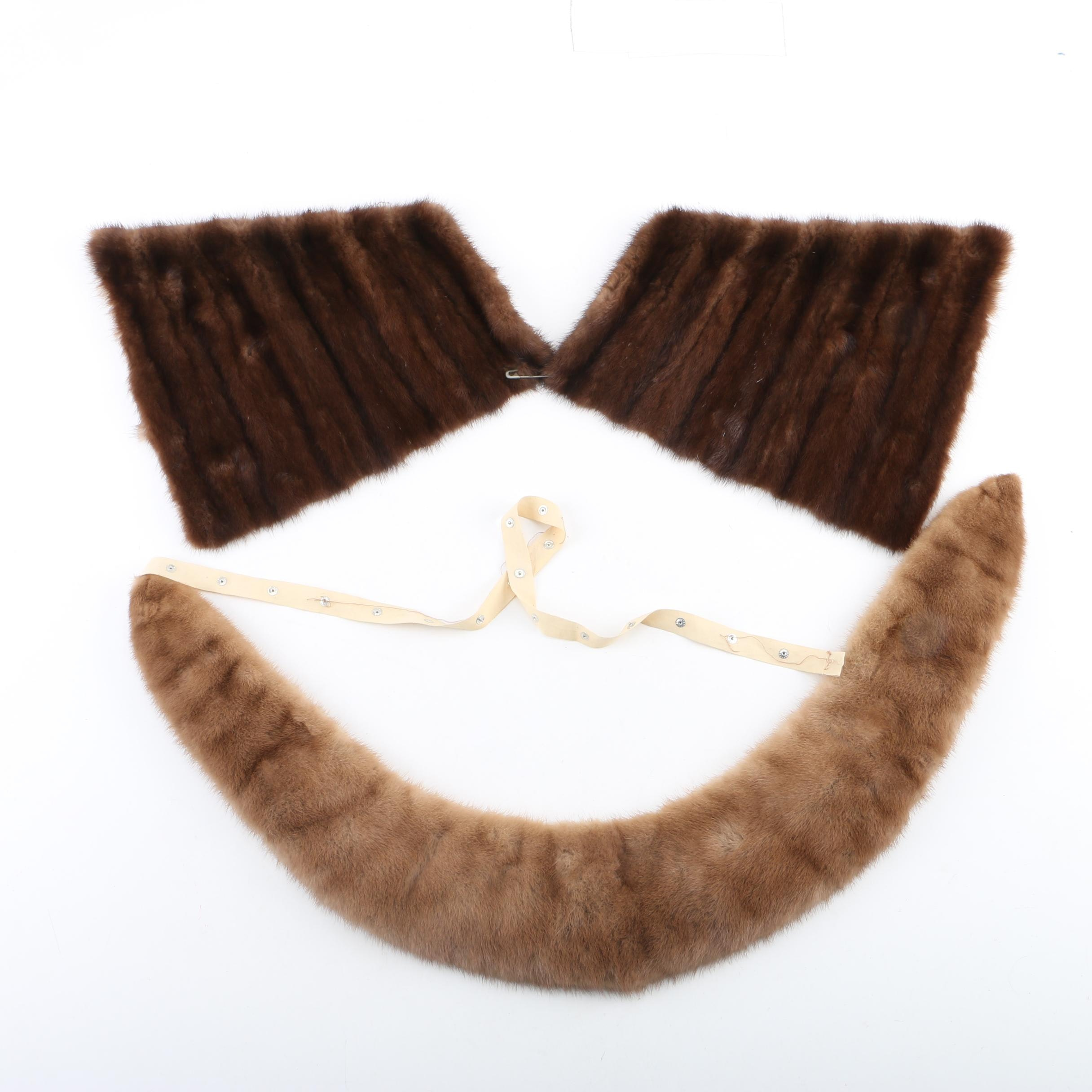 Vintage Mink Fur Collar and Remnants