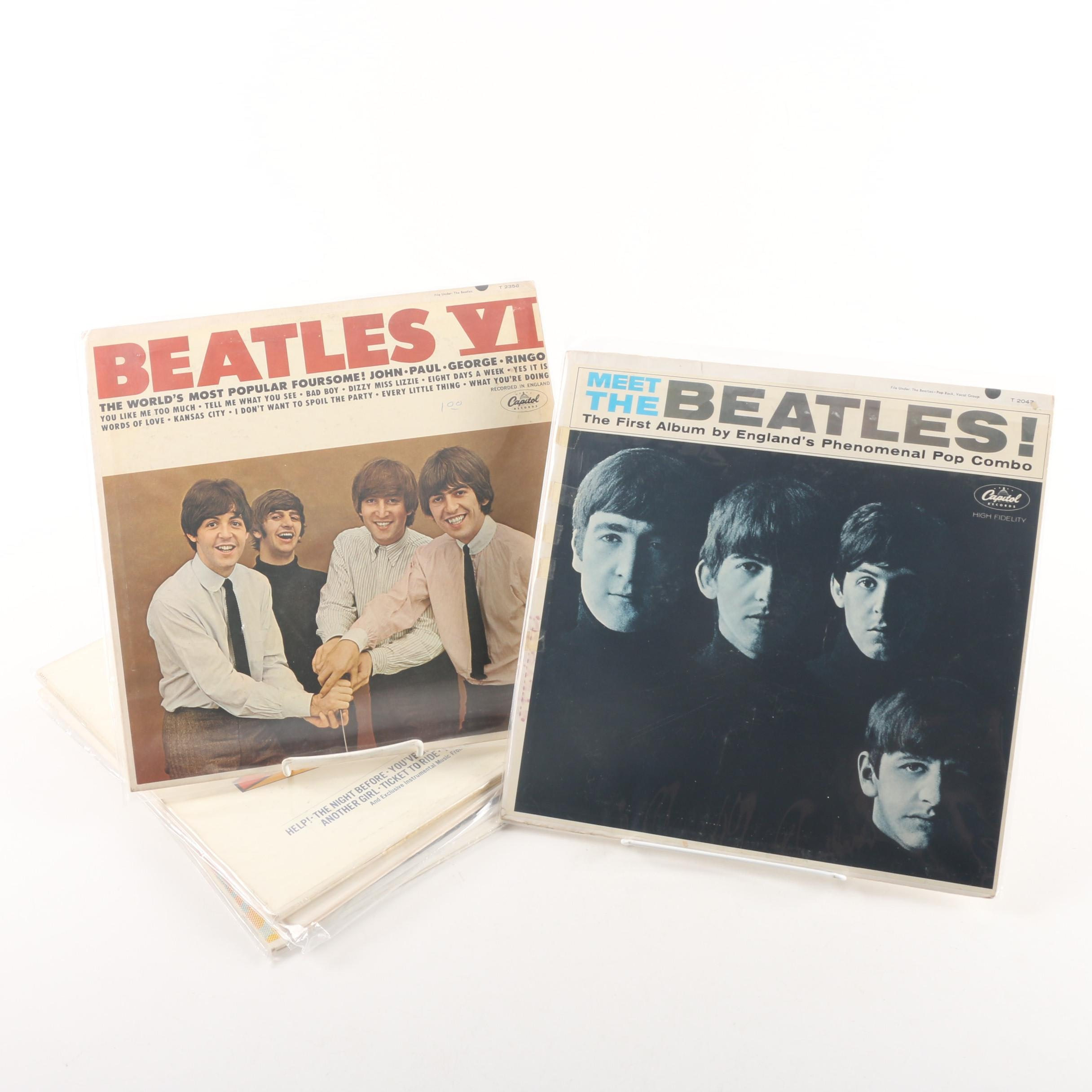"""Vintage Beatles Records Including """"Help"""" and """"The Beatles"""""""