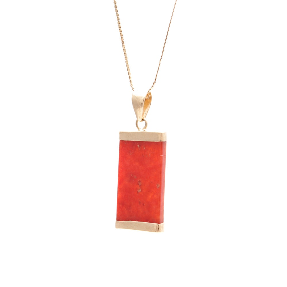 14K Yellow Gold Necklace with Carnelian Pendant