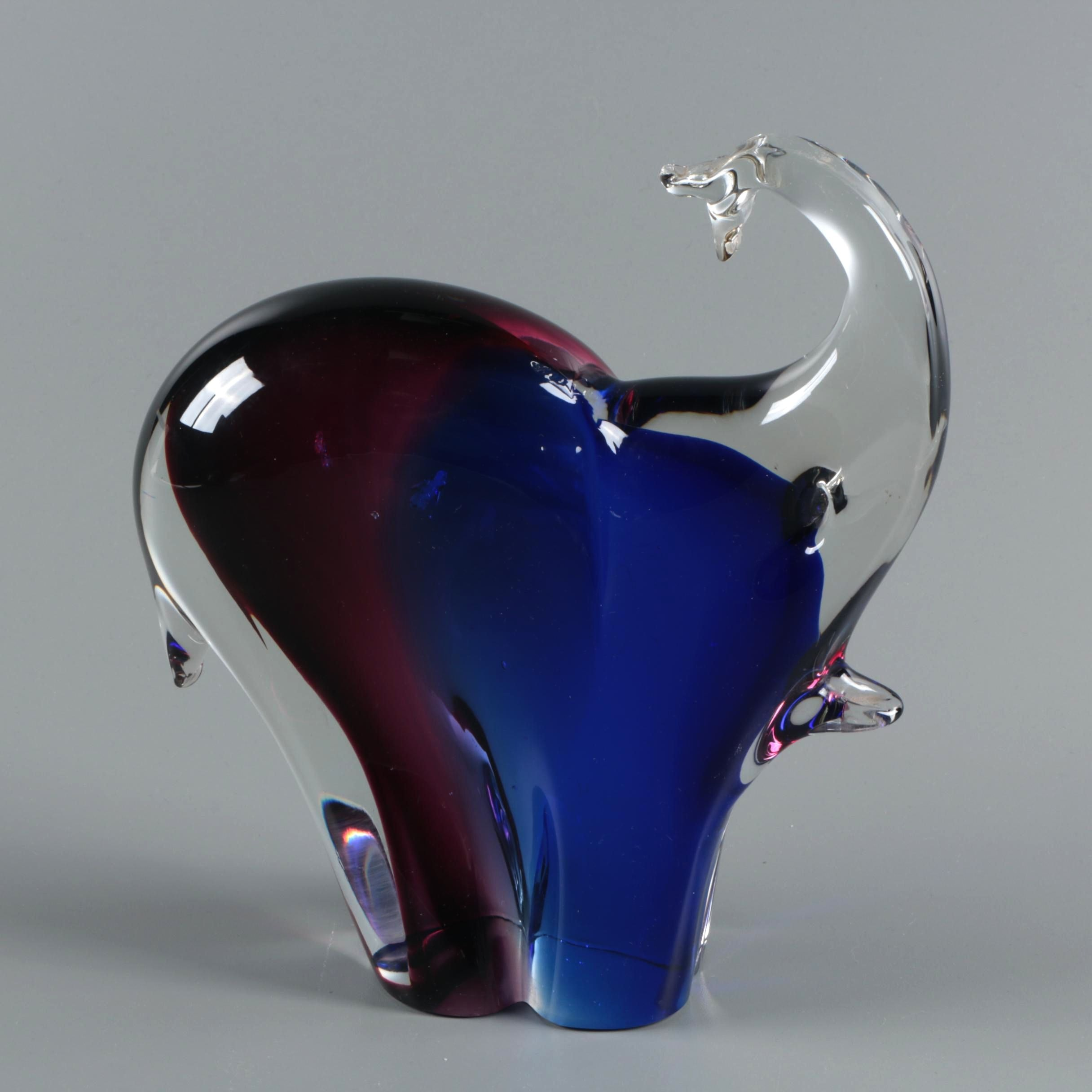 Murano Style Art Glass Elephant Figurine