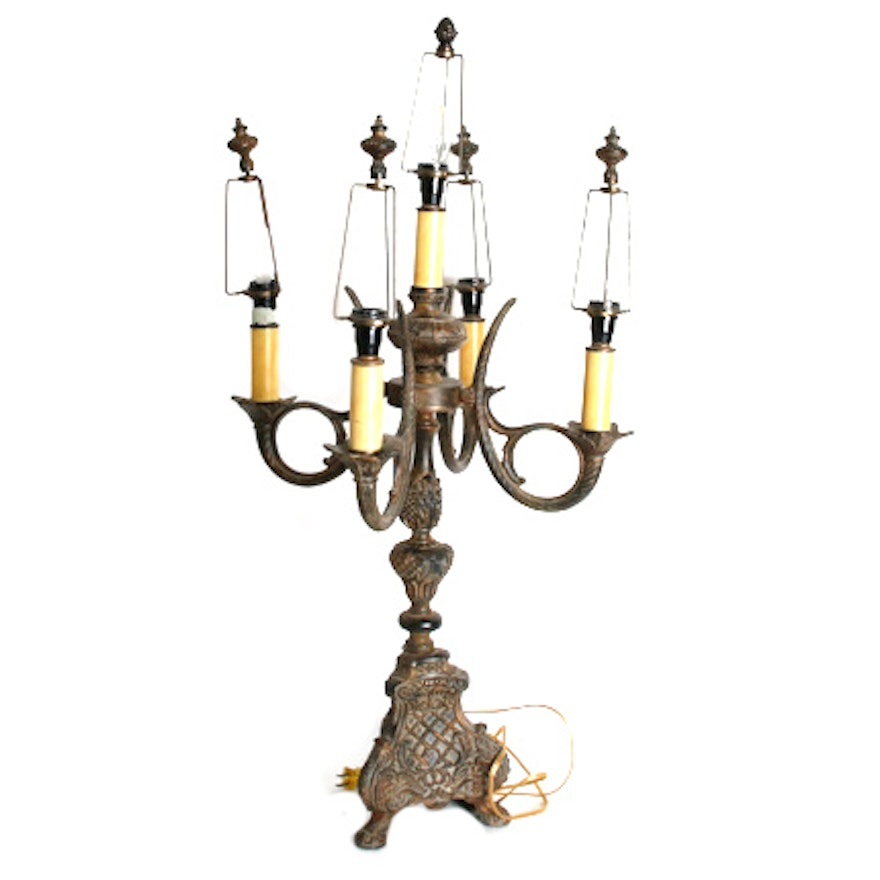 Vintage five arm candelabra table lamp with bronze tone metal vintage five arm candelabra table lamp with bronze tone metal embossed base aloadofball Choice Image