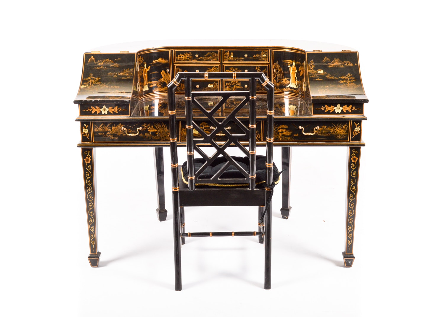 Chinoiserie Decorated Carlton House Desk and Faux Bamboo Chair