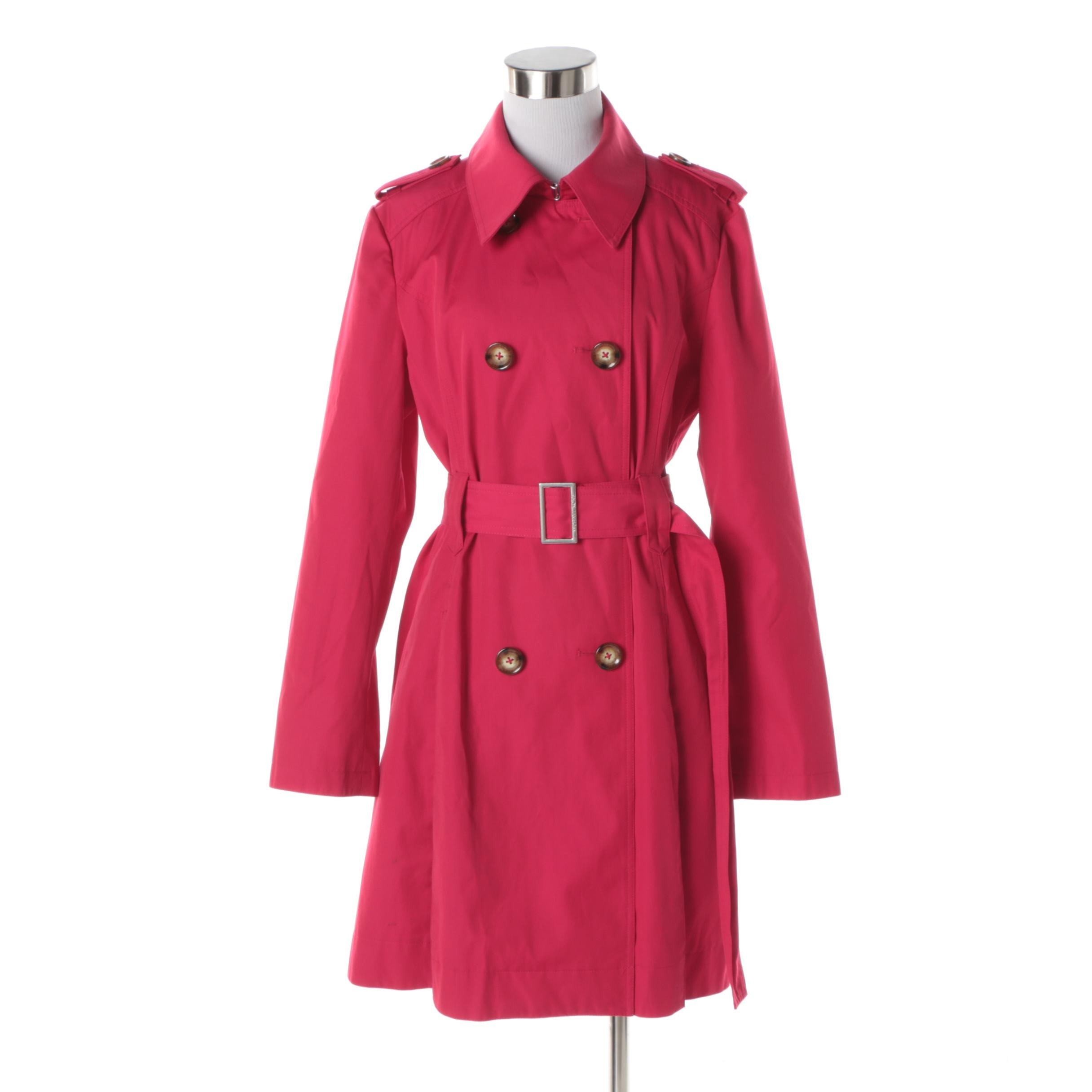 Women's MICHAEL Michael Kors Pink Double-Breasted Trench Coat