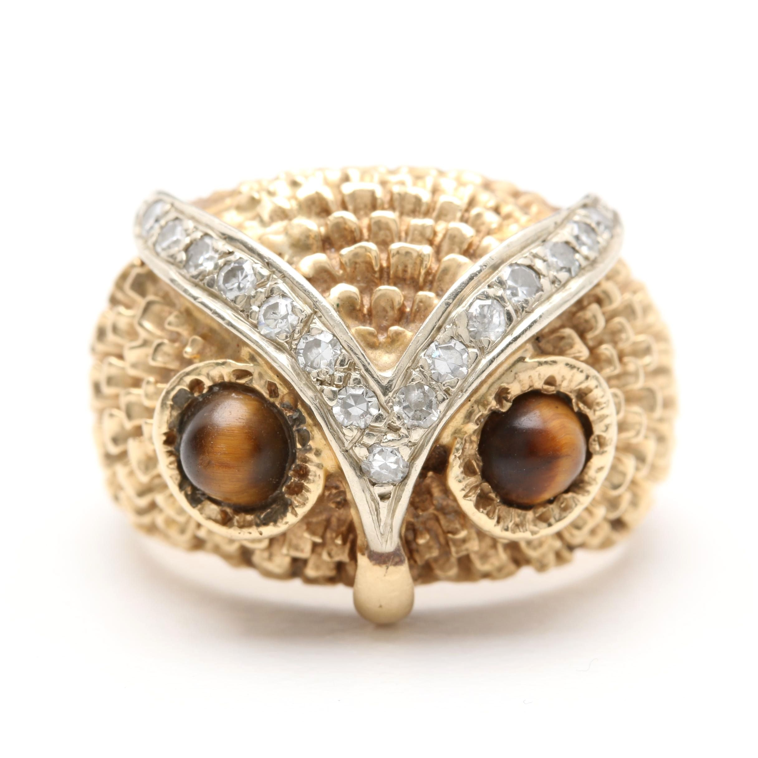 14K Yellow Gold Diamond and Tiger's Eye Owl Ring