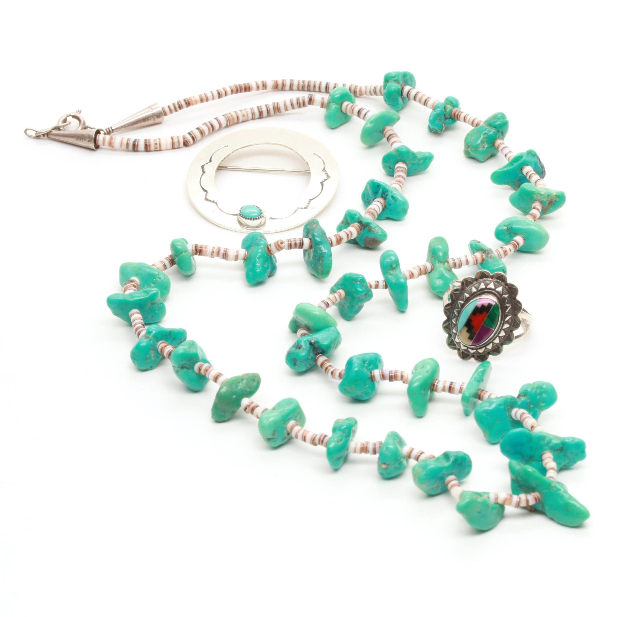 Assorted Southwestern Style Sterling Silver Gemstone Jewelry