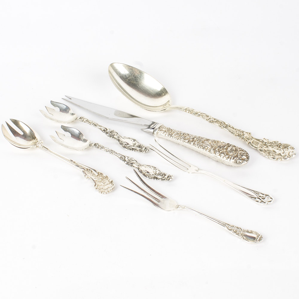 """Whiting Mfg. Co. """"Lily"""" Sterling Ice Cream Forks with Other Sterling Utensils"""