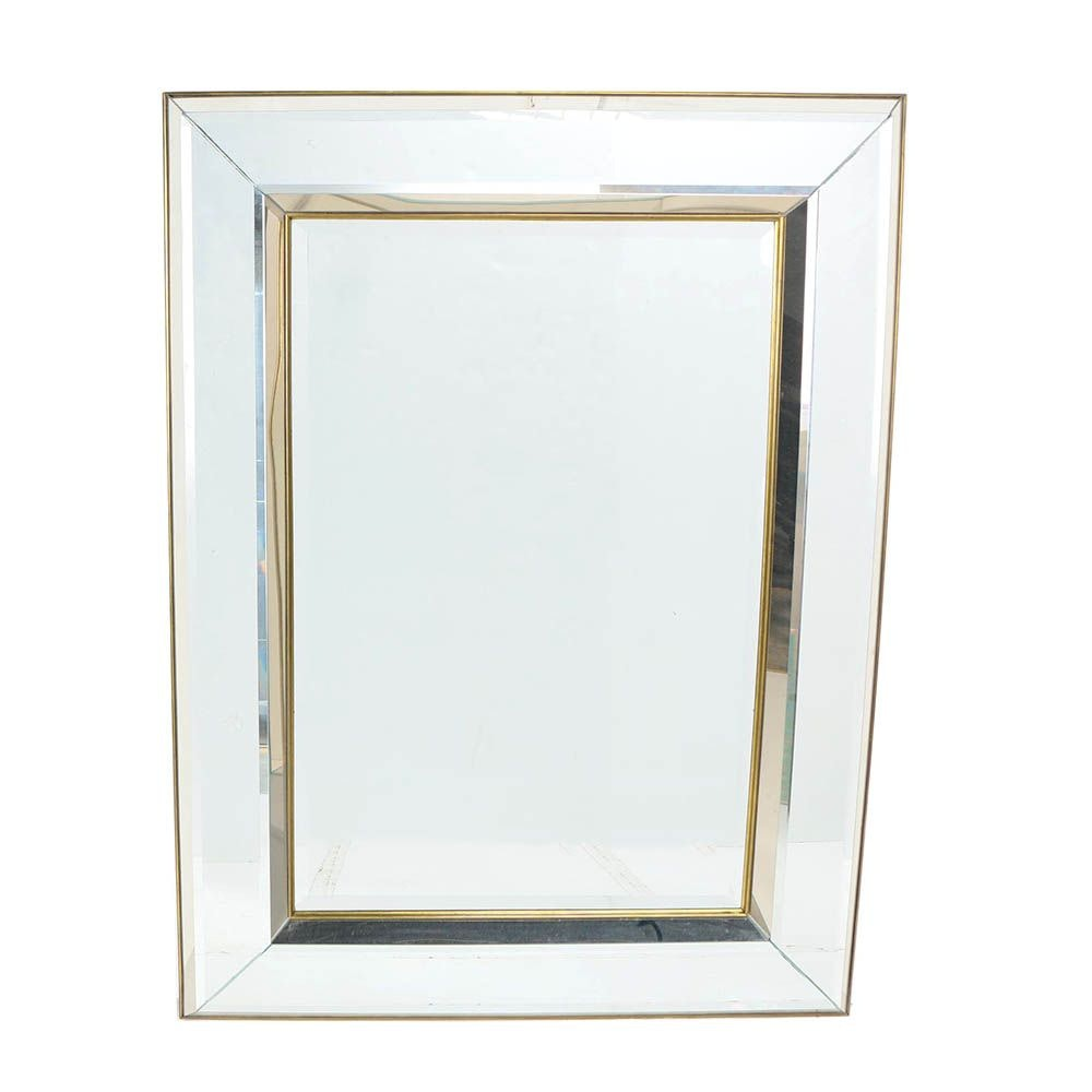 Signed Carvers' Guild Wall Mirror with Beveled Mirror Frame