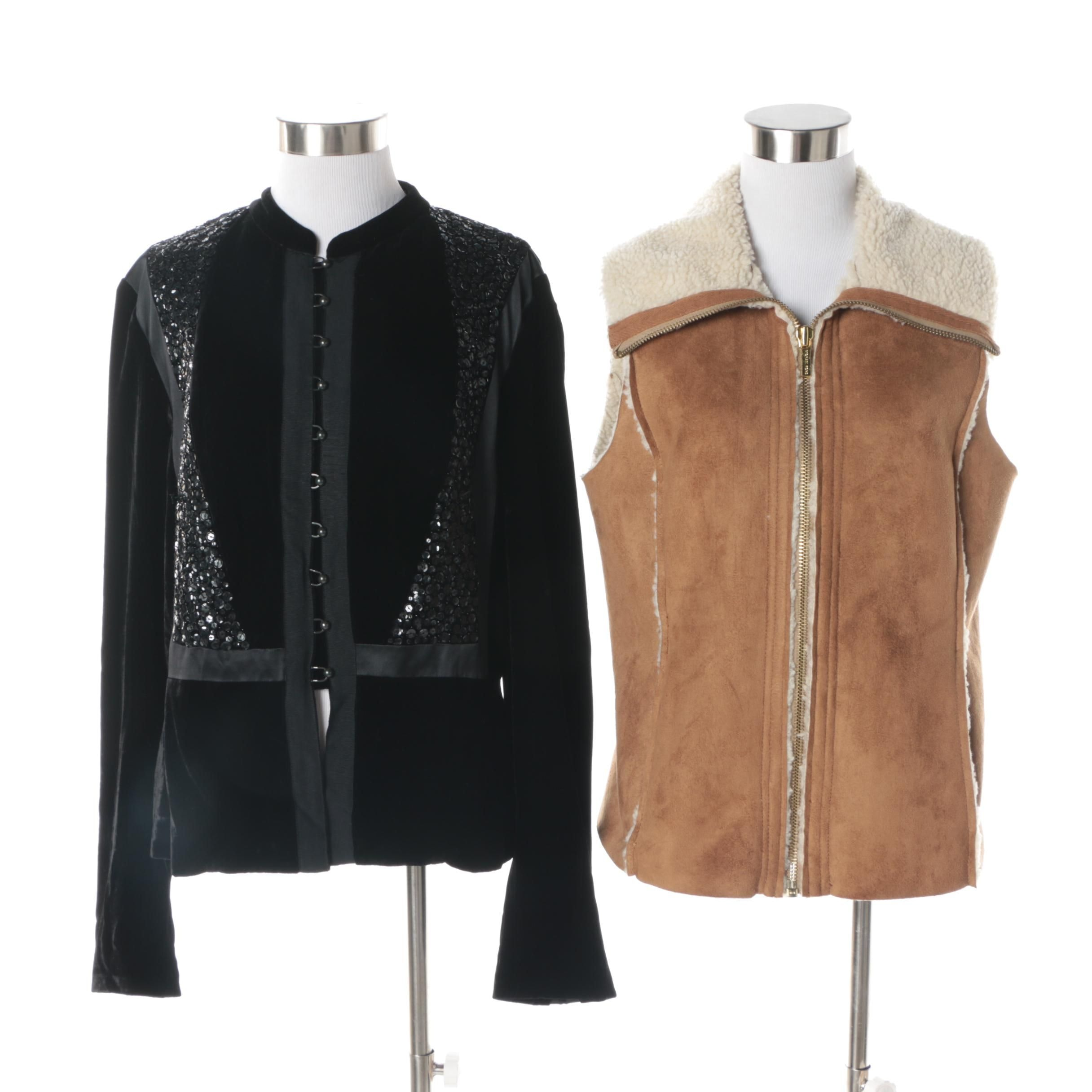 Women's MICHAEL Michael Kors Faux Shearling Vest and Calvin Klein Sequin Jacket