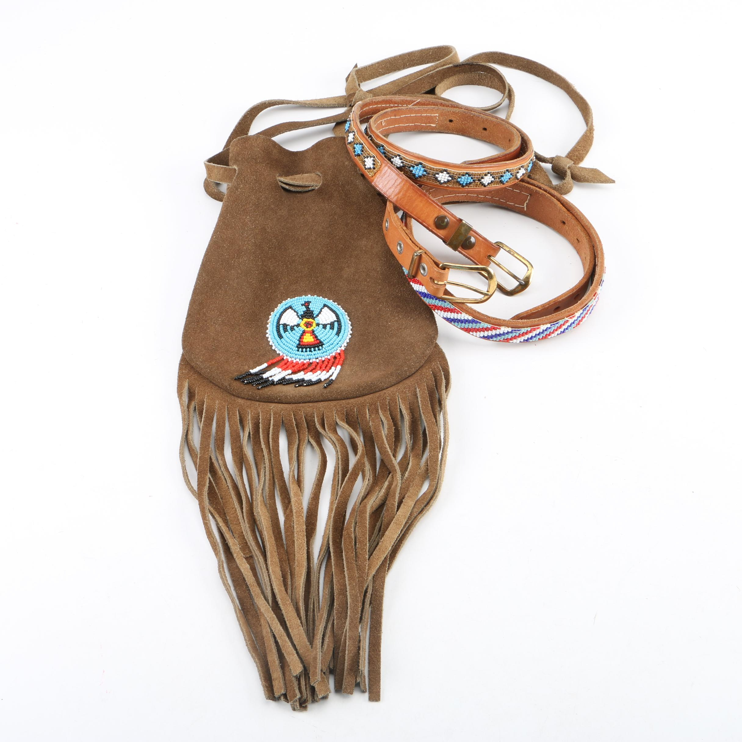 Southwestern Style Beaded Suede Leather Handbag and Belts