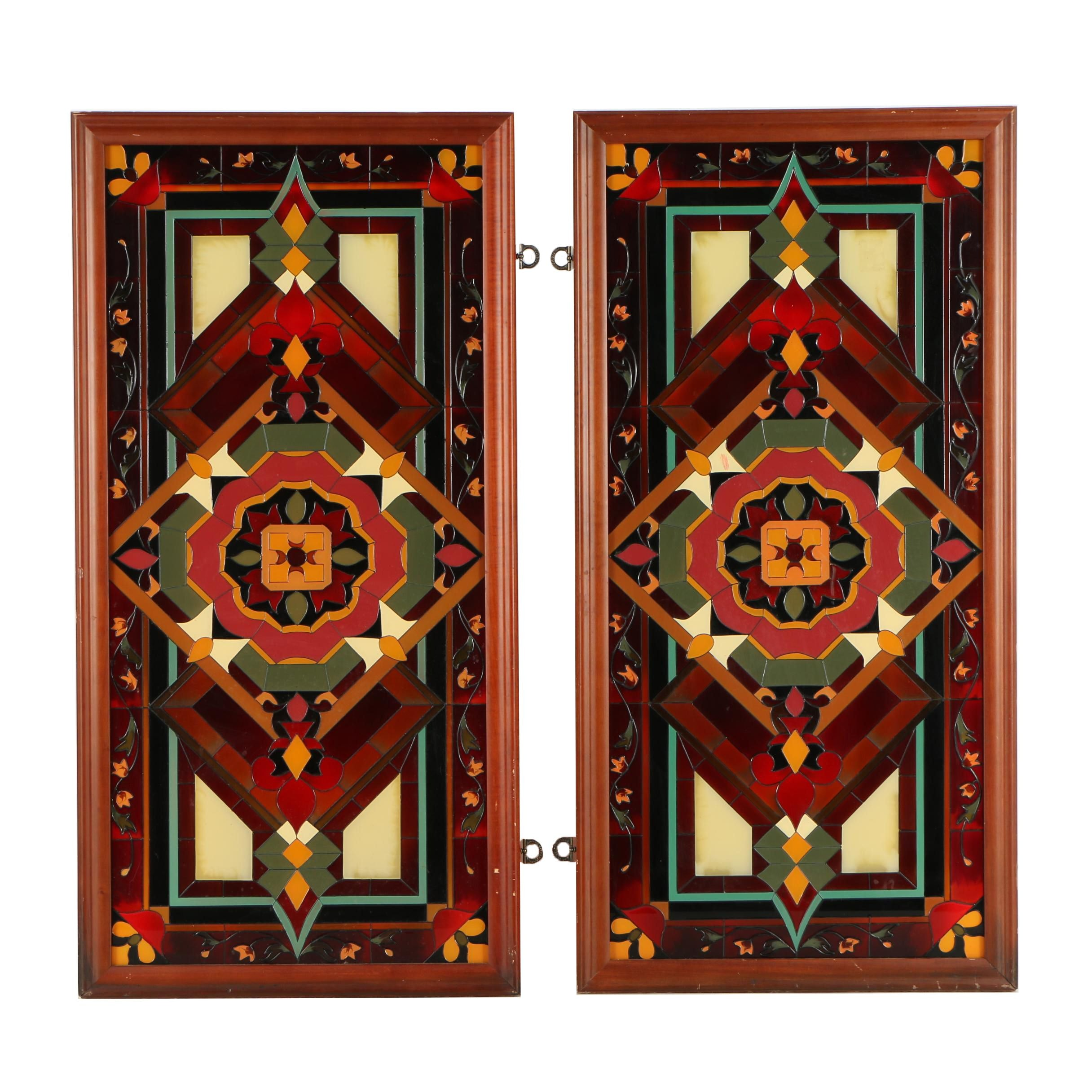 Pair of Hand Painted Glass Panels from Joan Baker Designs