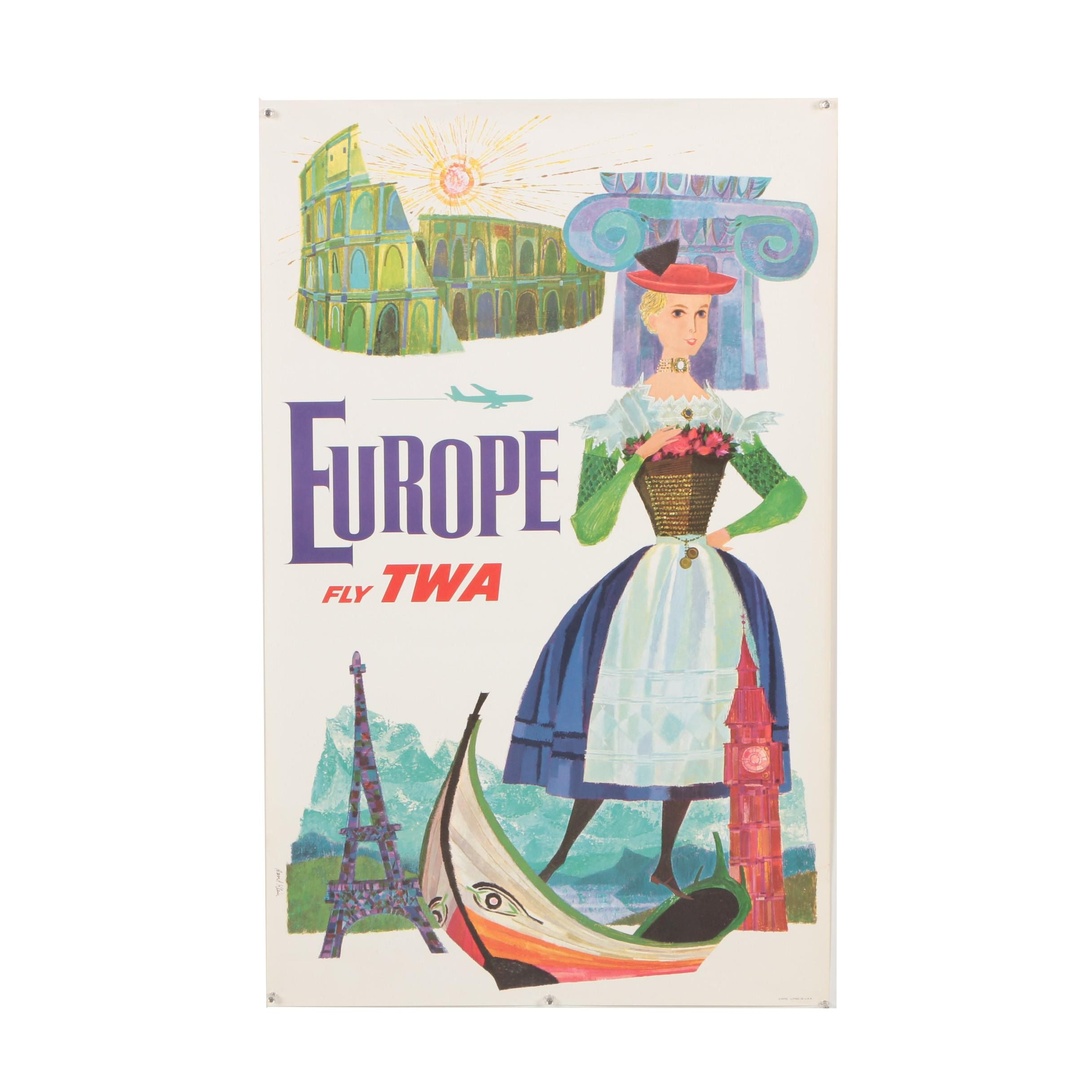 "Offset Lithograph Travel Poster after David Klein for TWA ""Europe"""