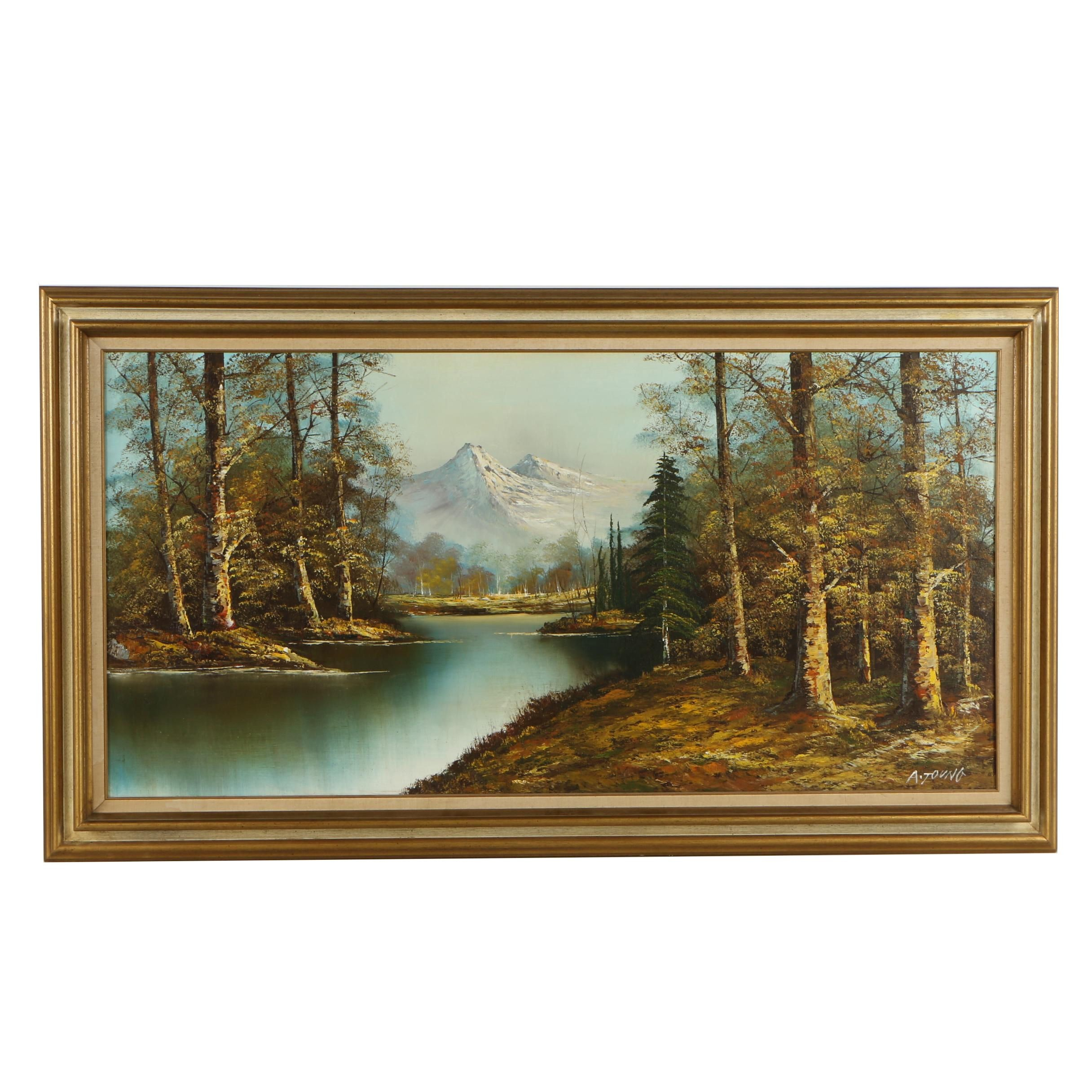 20th Century A. Young Oil Painting of a Landscape