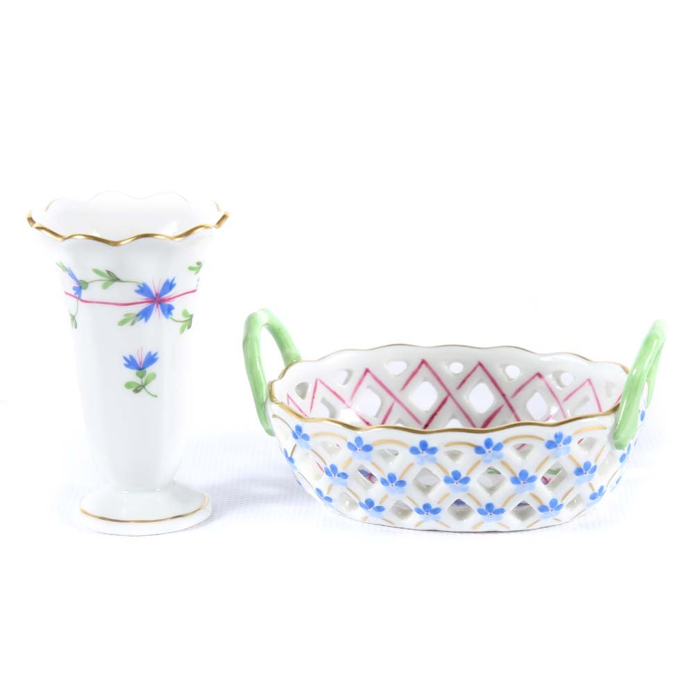 Herend Hand Painted Bud Vase and Reticulated Basket