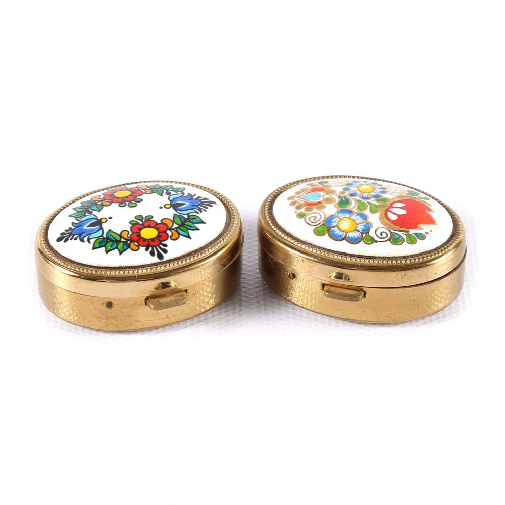 Pair of Brass and Enamel Pill Boxes