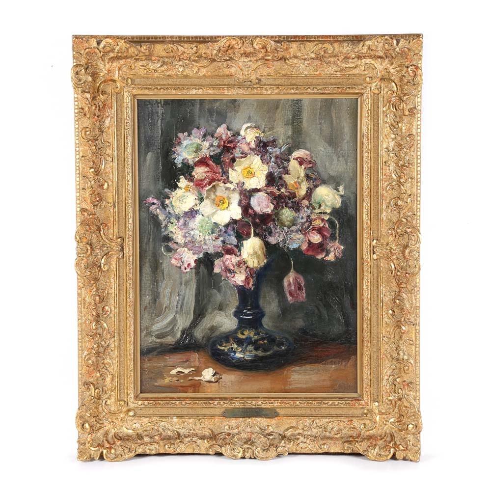 "Professor Aloys Haenisch Oil Painting on Canvas ""Summer Flowers"""