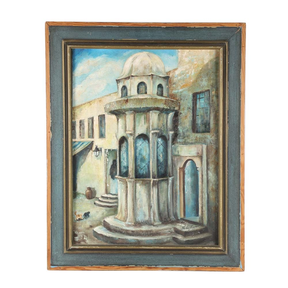 "Vintage Shirley Eaves Oil on Canvas Board Painting ""Fountain in Acre"""