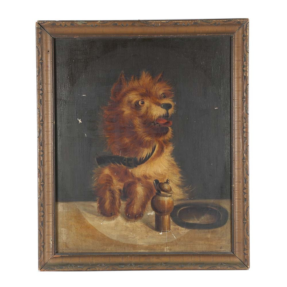 Antique W. Seamans Oil on Board Painting